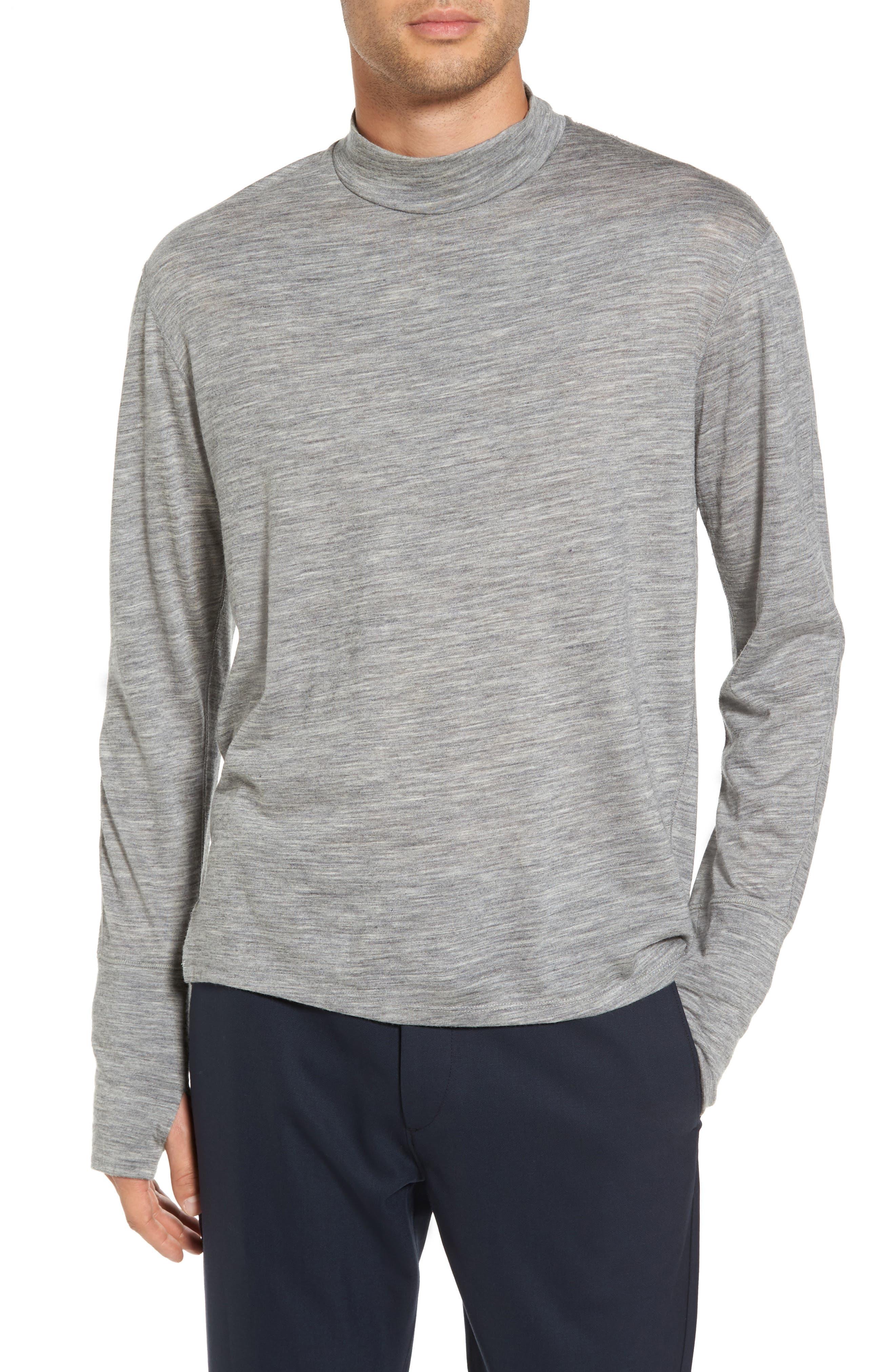Mock Neck Thumbhole Wool T-Shirt,                         Main,                         color, Concrete Heather