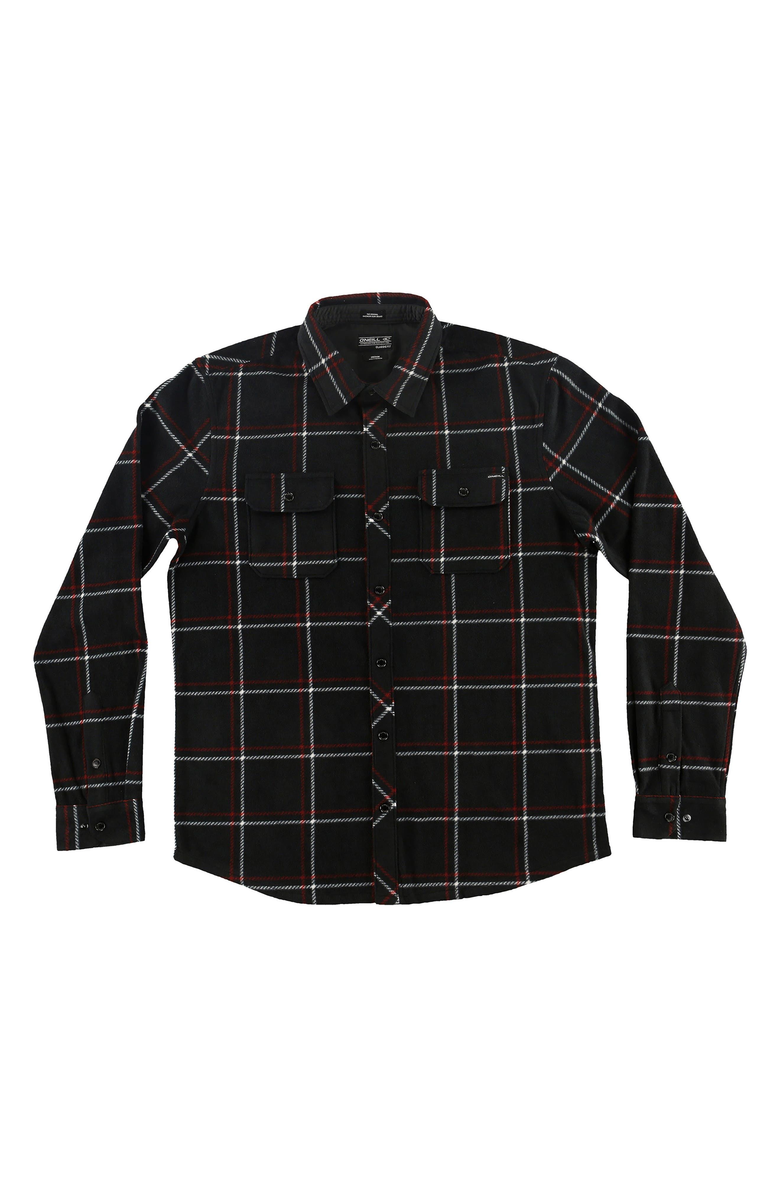 Glacier Series Two Plush Windowpane Shirt,                             Main thumbnail 1, color,                             Black