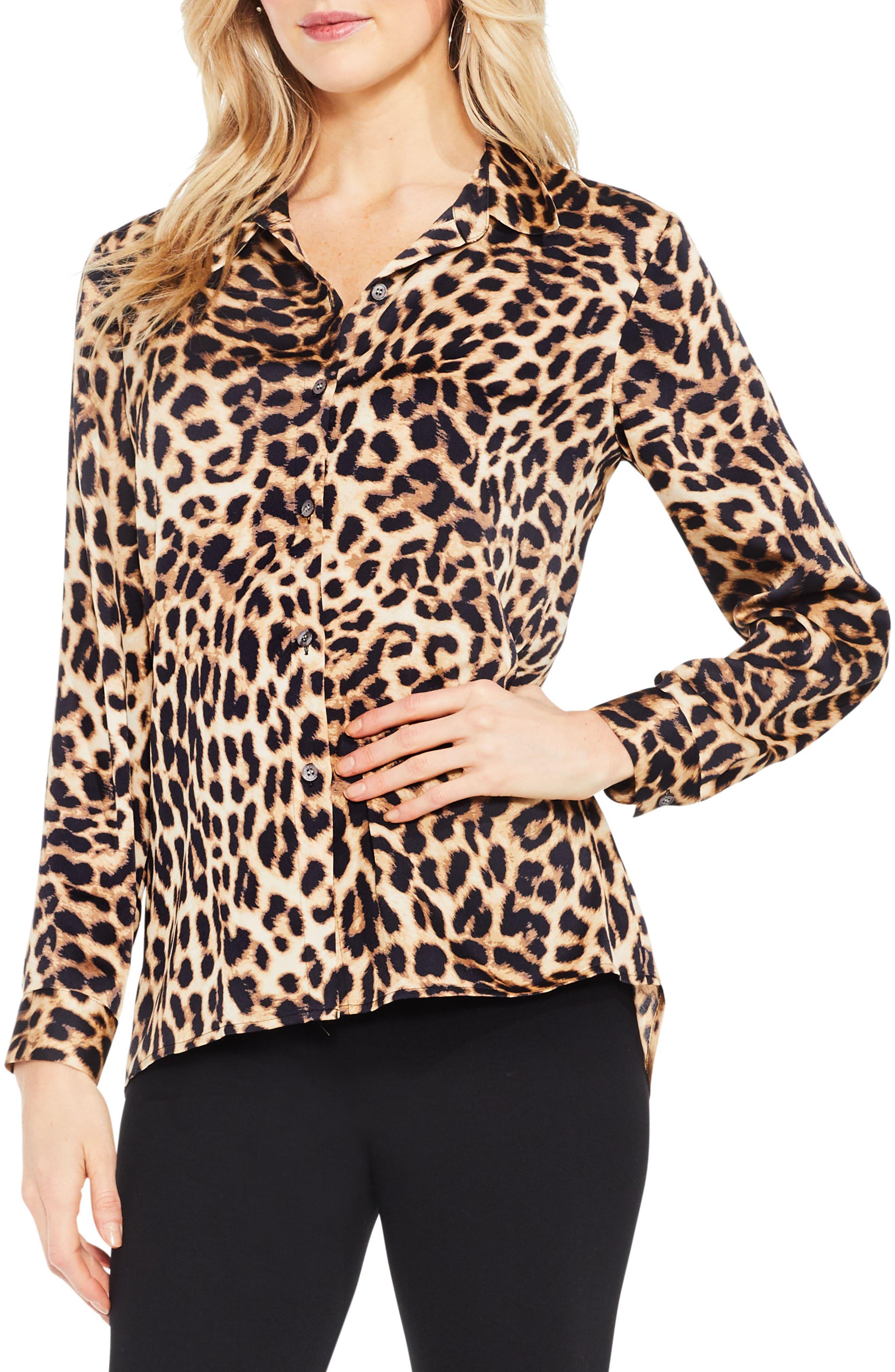 Leopard Print Blouse,                         Main,                         color, Rich Black