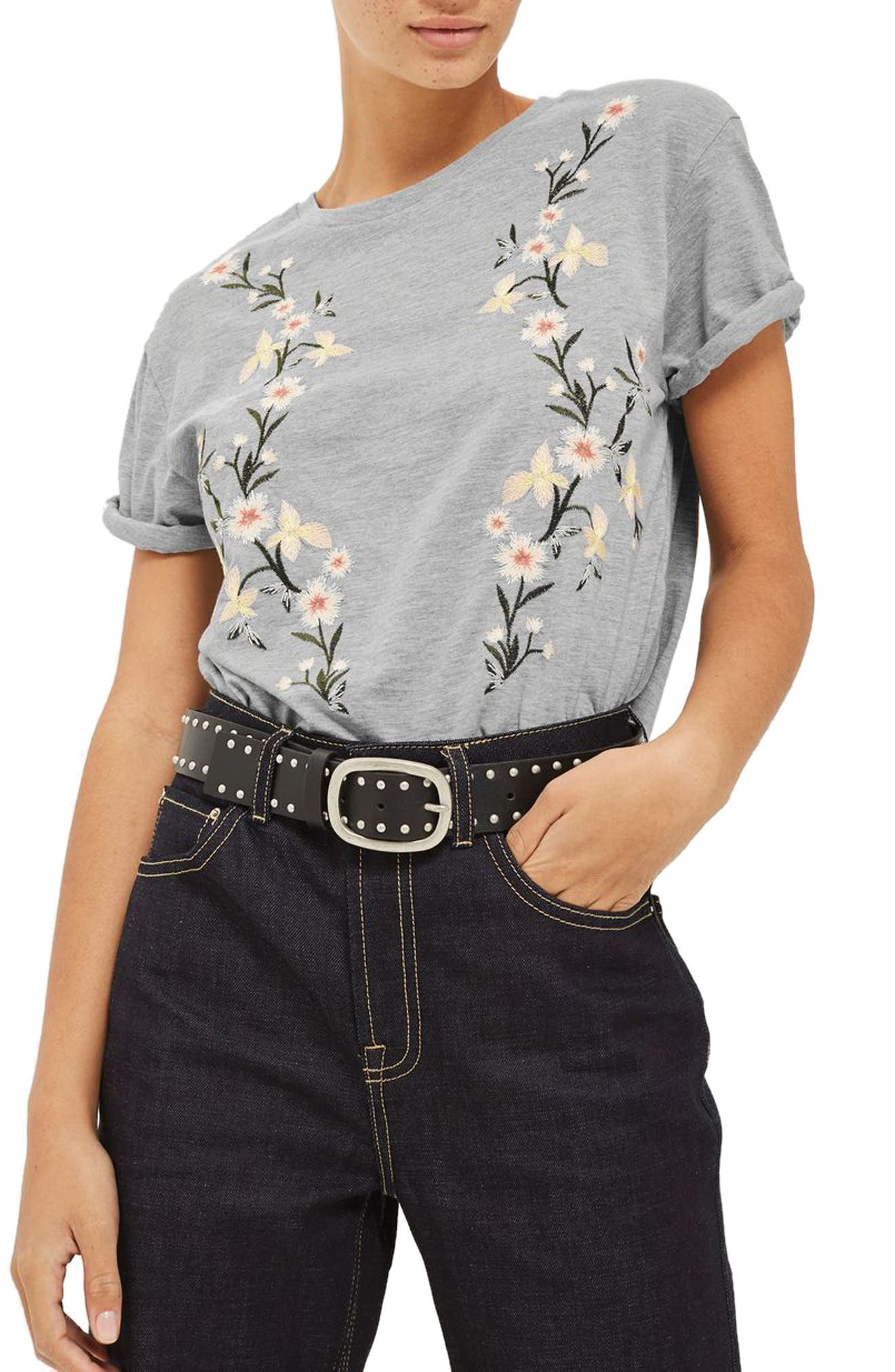 Floral Embroidered Tee,                         Main,                         color, Grey