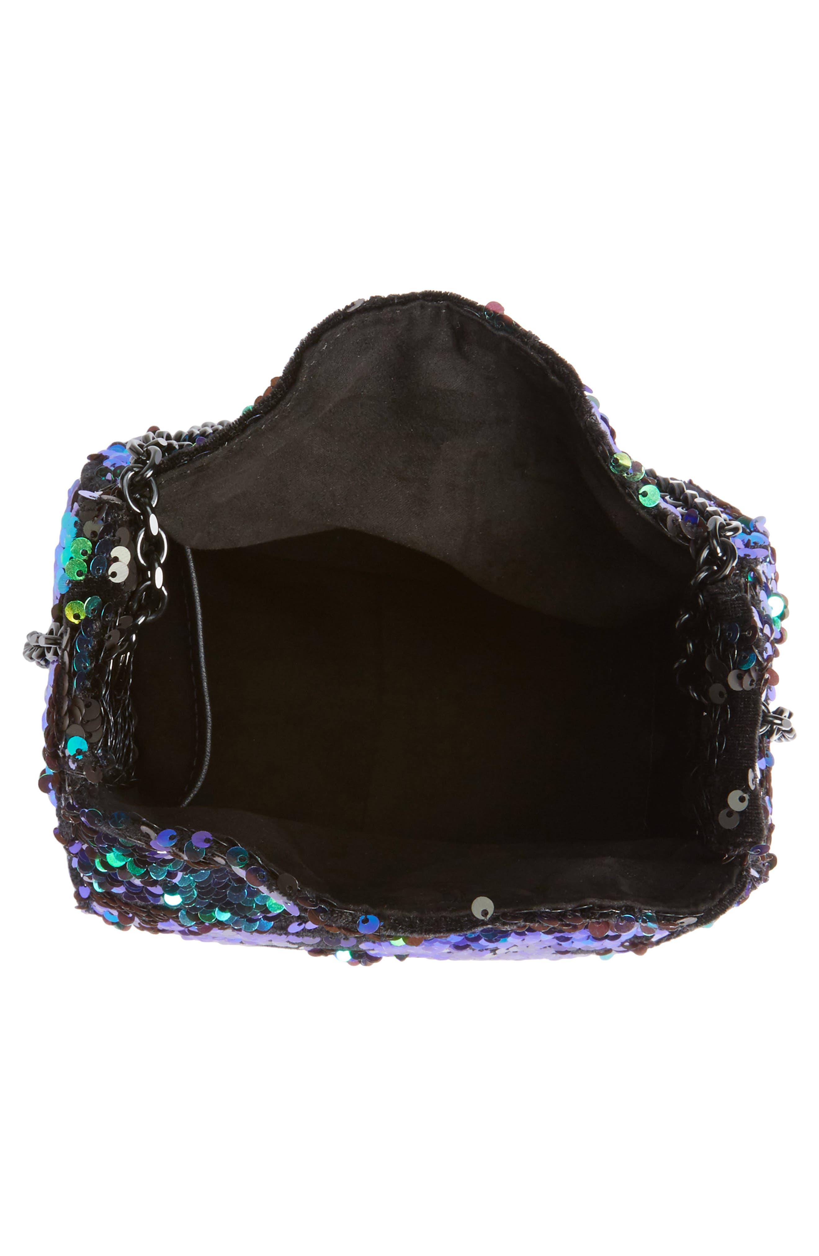 Amy Sequin Bucket Bag,                             Alternate thumbnail 4, color,                             Iridescent Sequins