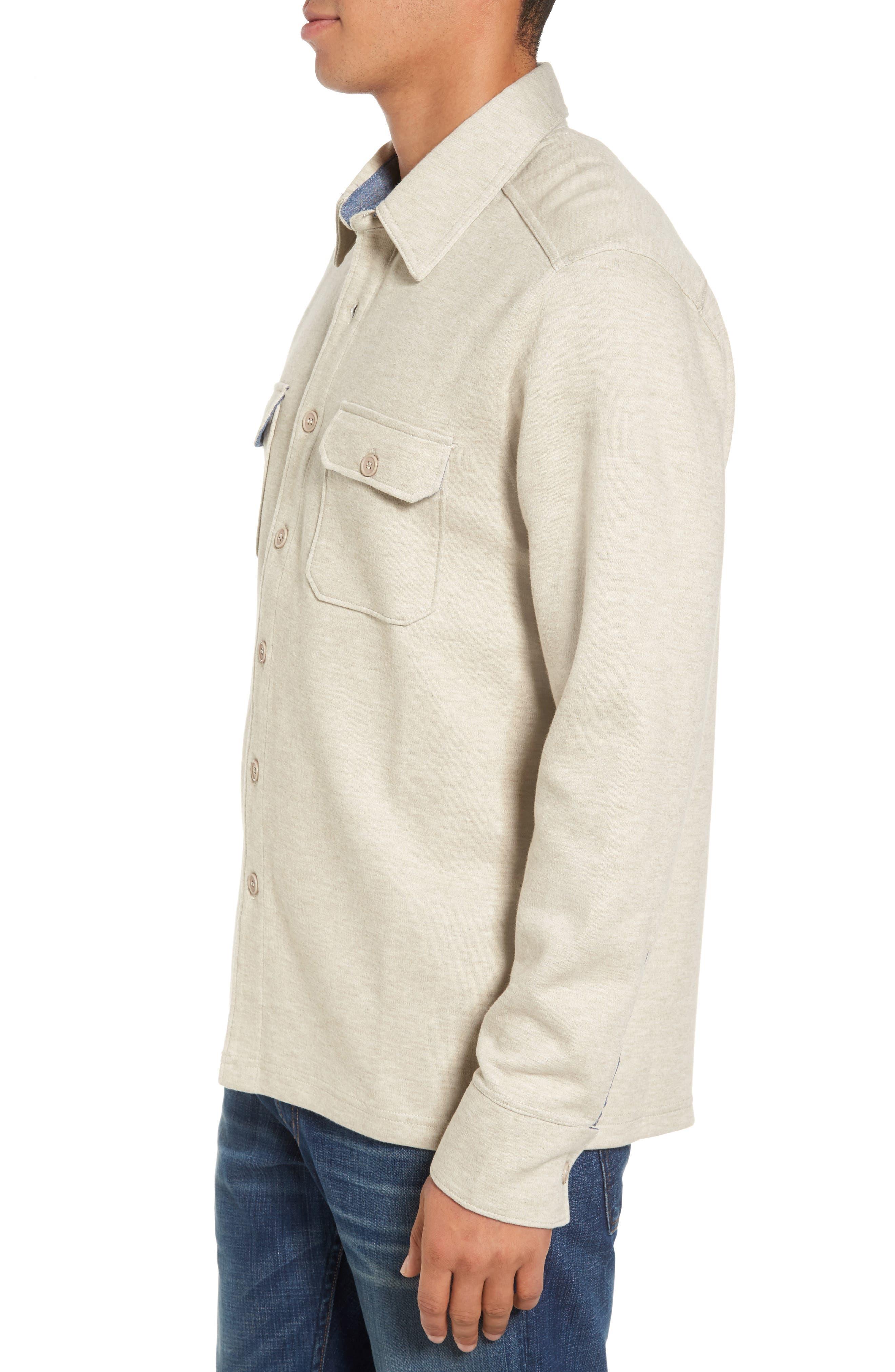 'Longitude' Flap Pocket Fleece Shirt,                             Alternate thumbnail 3, color,                             Bamboo Ivory