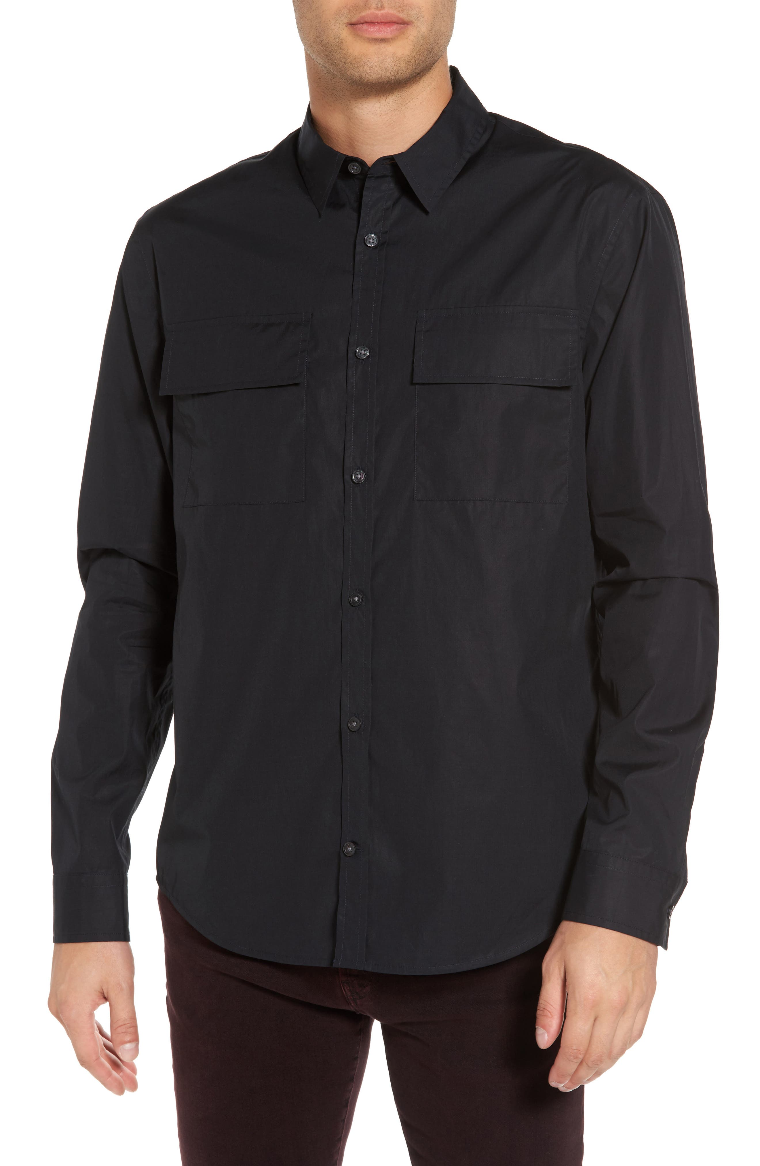 Military Flap Pocket Sport Shirt,                         Main,                         color, Black