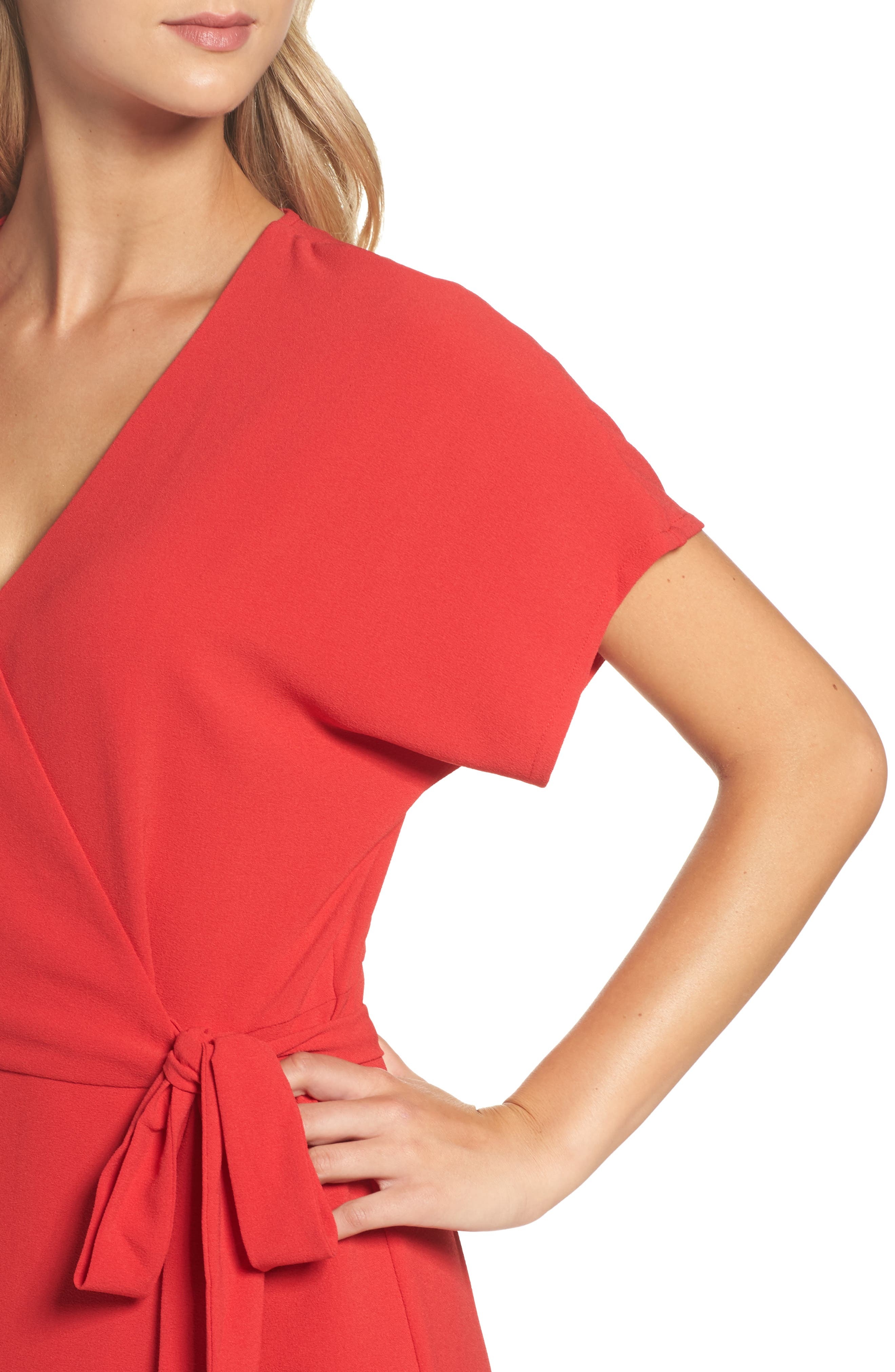 Rita Wrap Dress,                             Alternate thumbnail 4, color,                             Red