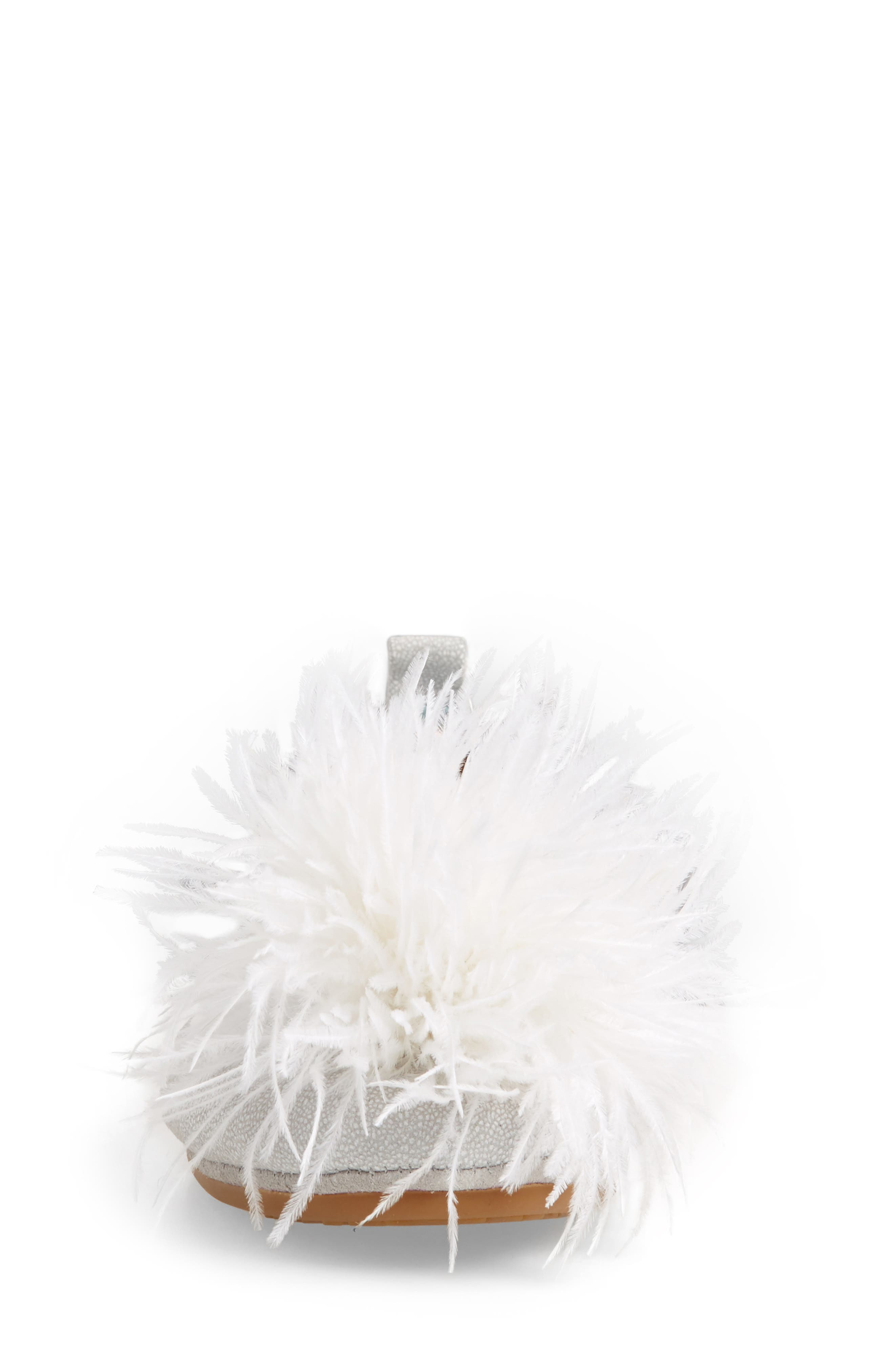 Marabou Feather Pompom Flat,                             Alternate thumbnail 4, color,                             Silver Leather