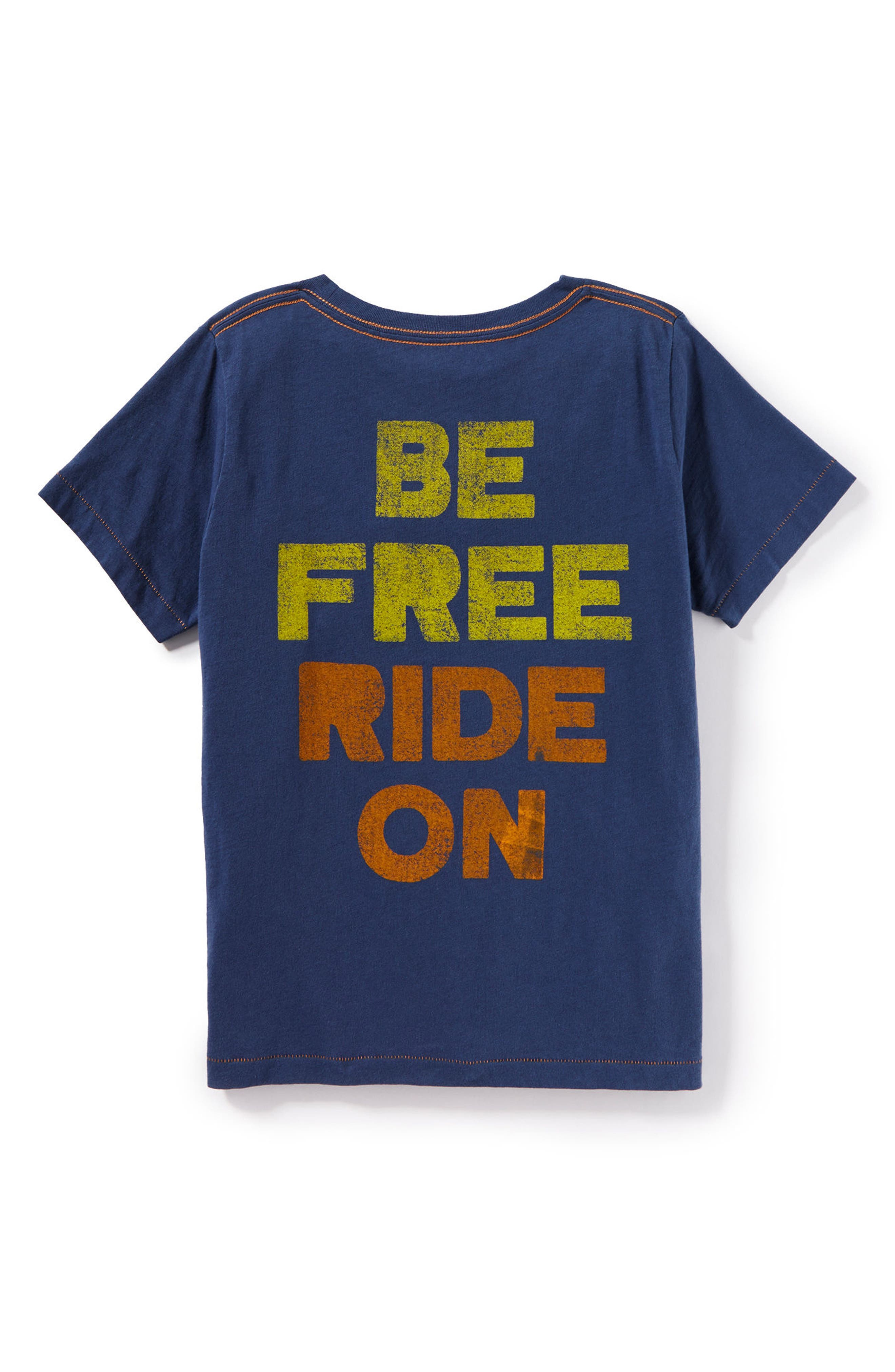 Be Free Ride On Graphic T-Shirt,                             Alternate thumbnail 2, color,                             Blue