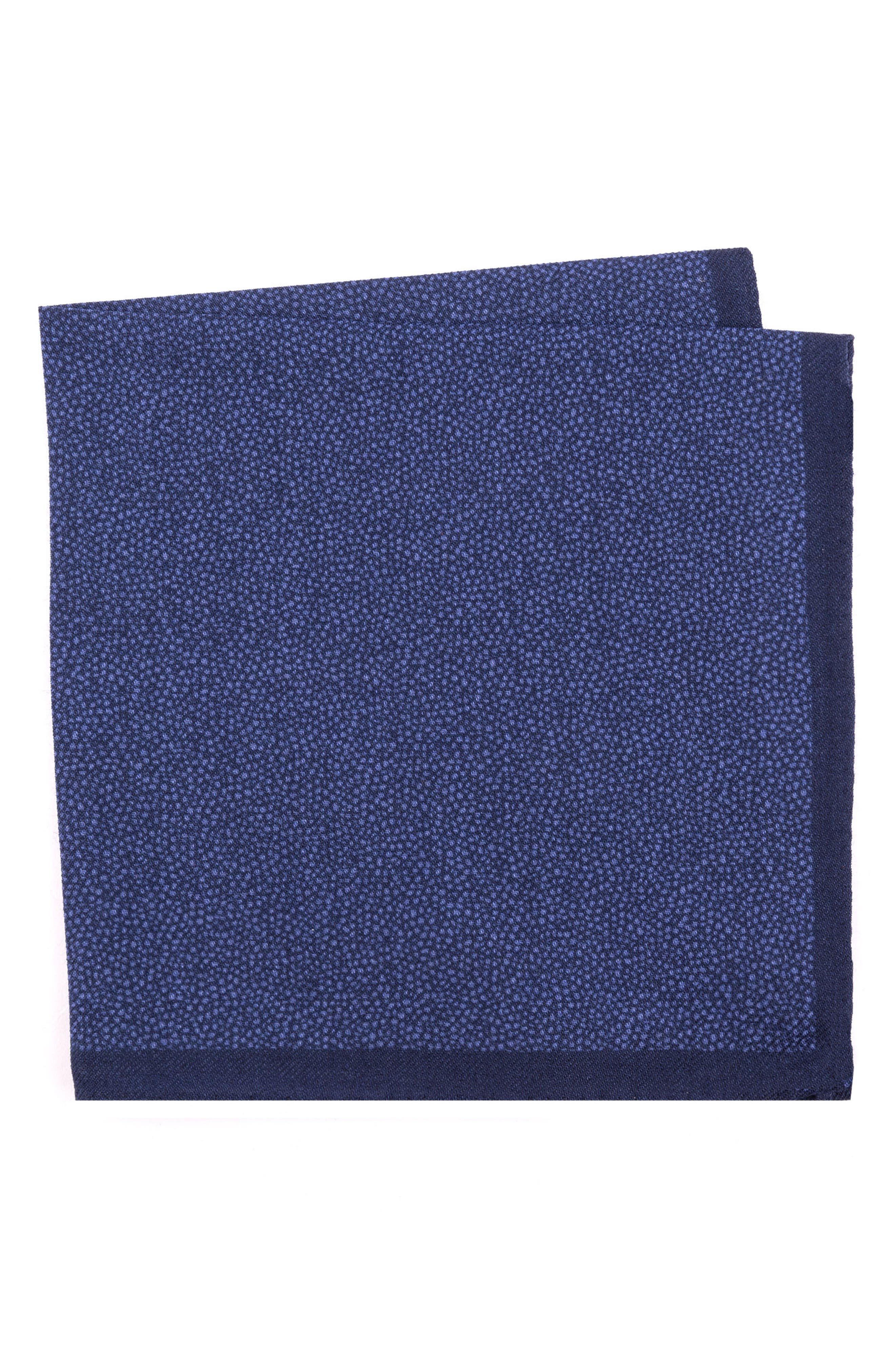 Dot Wool Pocket Square,                         Main,                         color, 400 Blue