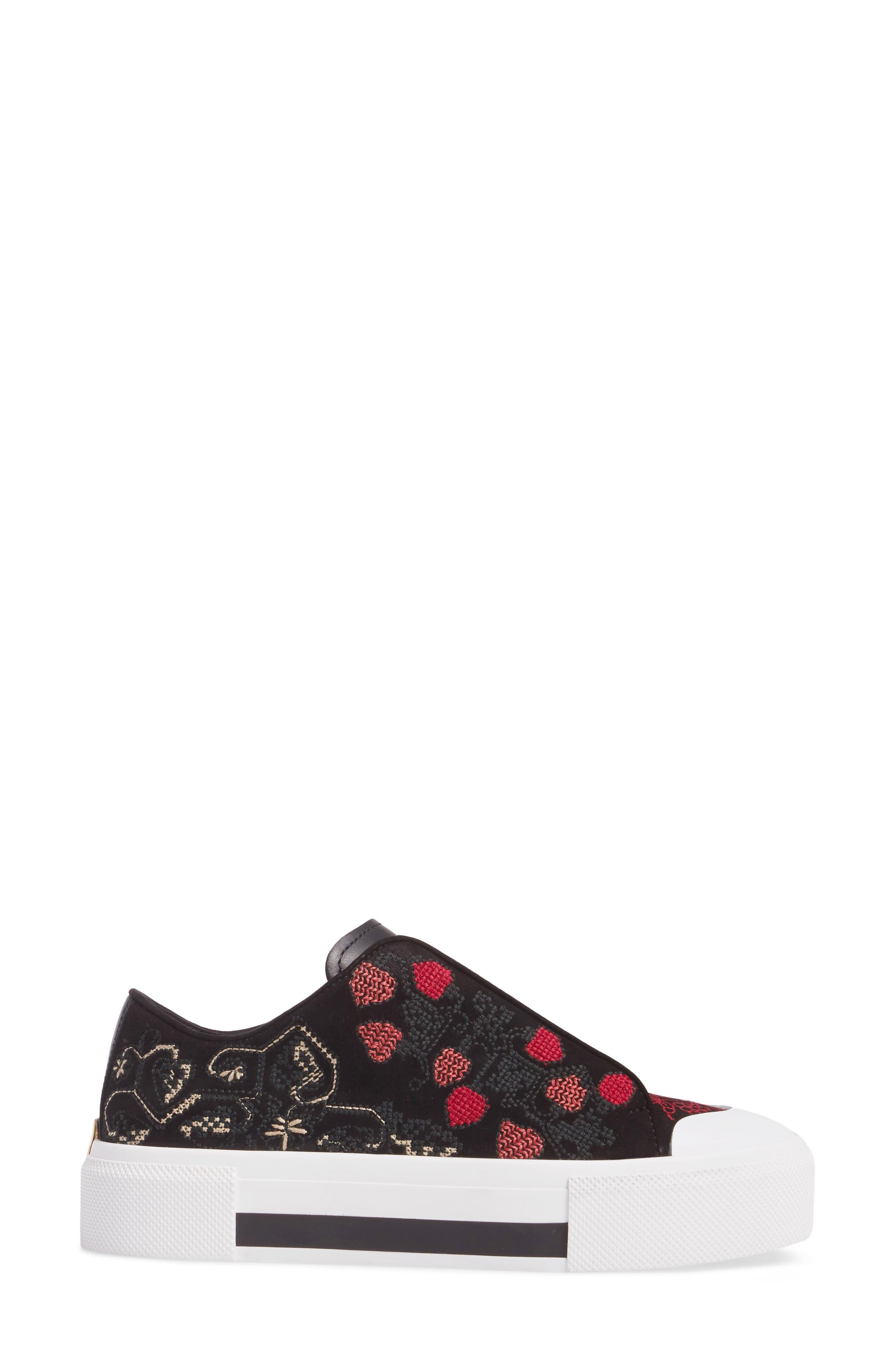 Cap Toe Platform Sneaker,                             Alternate thumbnail 3, color,                             Black/ Red