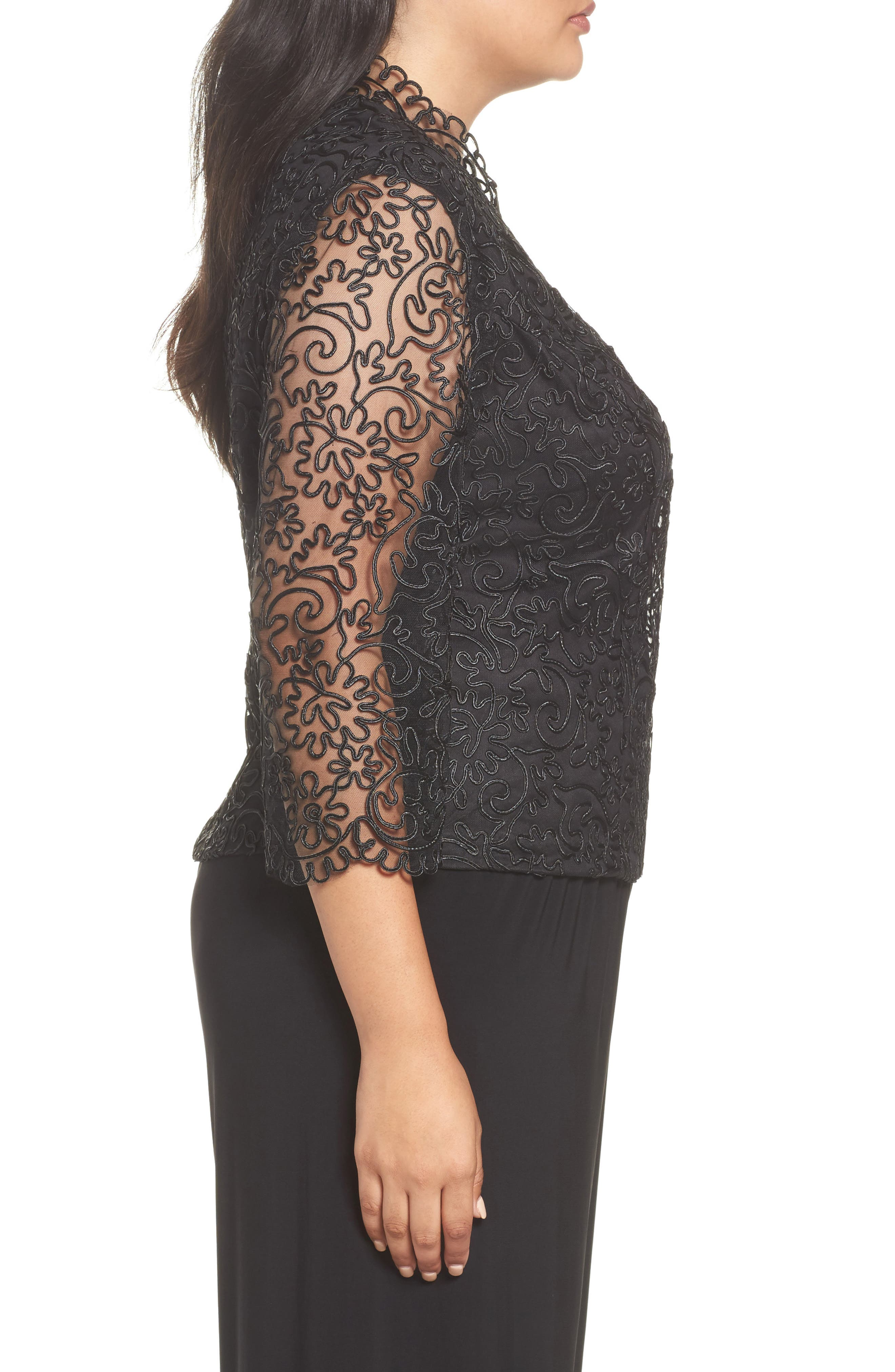 Alternate Image 3  - Alex Evenings Embroidered Illusion Sleeve Blouse (Plus Size)