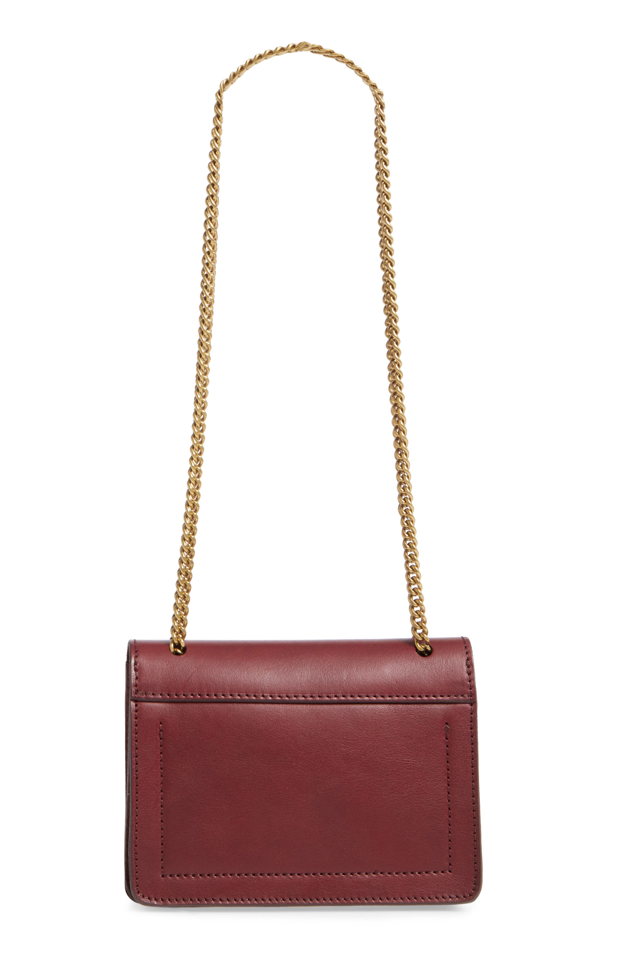Chain Leather Crossbody Bag,                             Alternate thumbnail 3, color,                             Cabernet