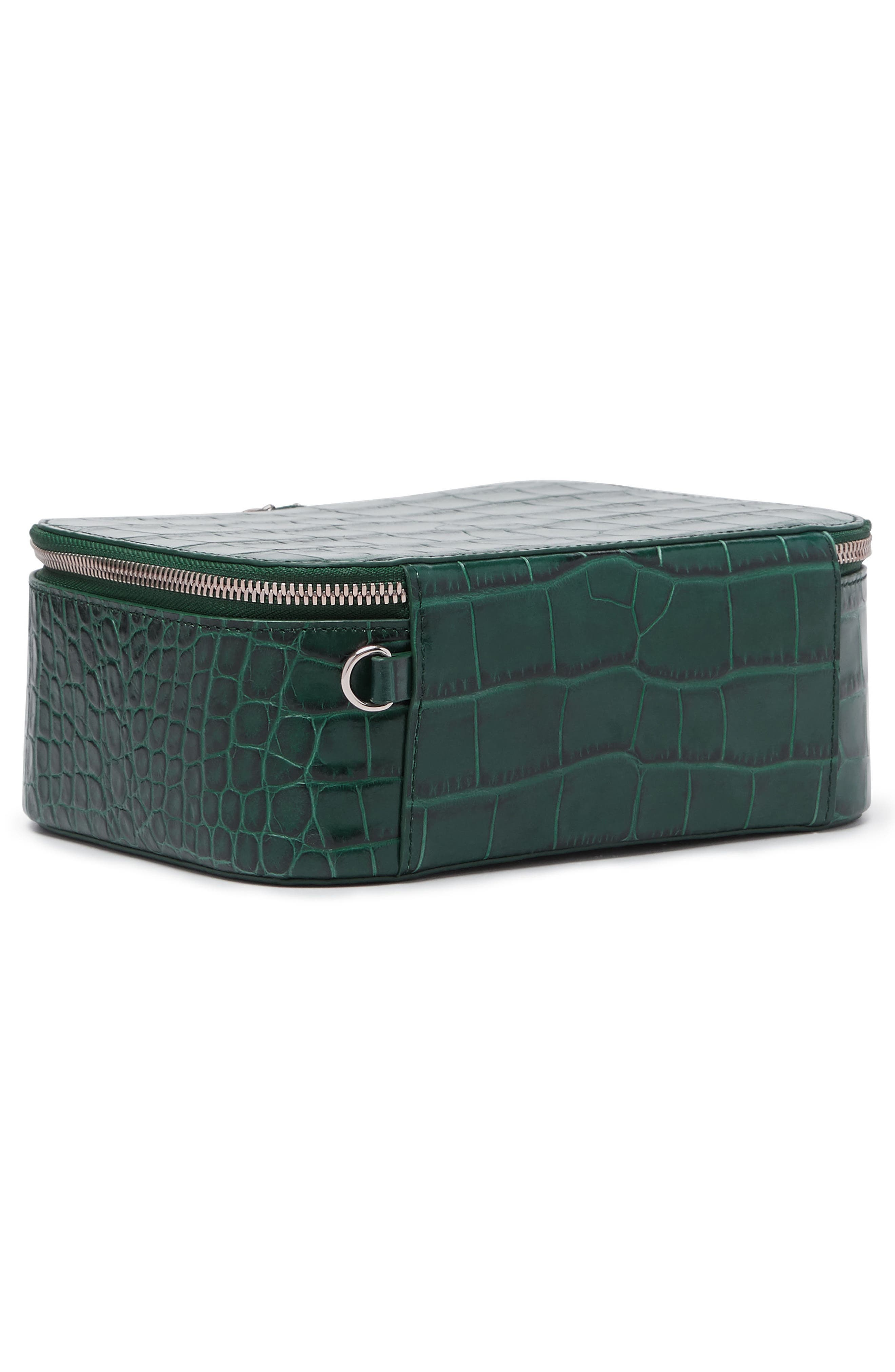 Bigger Croc Embossed Leather Makeup Case,                             Alternate thumbnail 3, color,                             Emerald