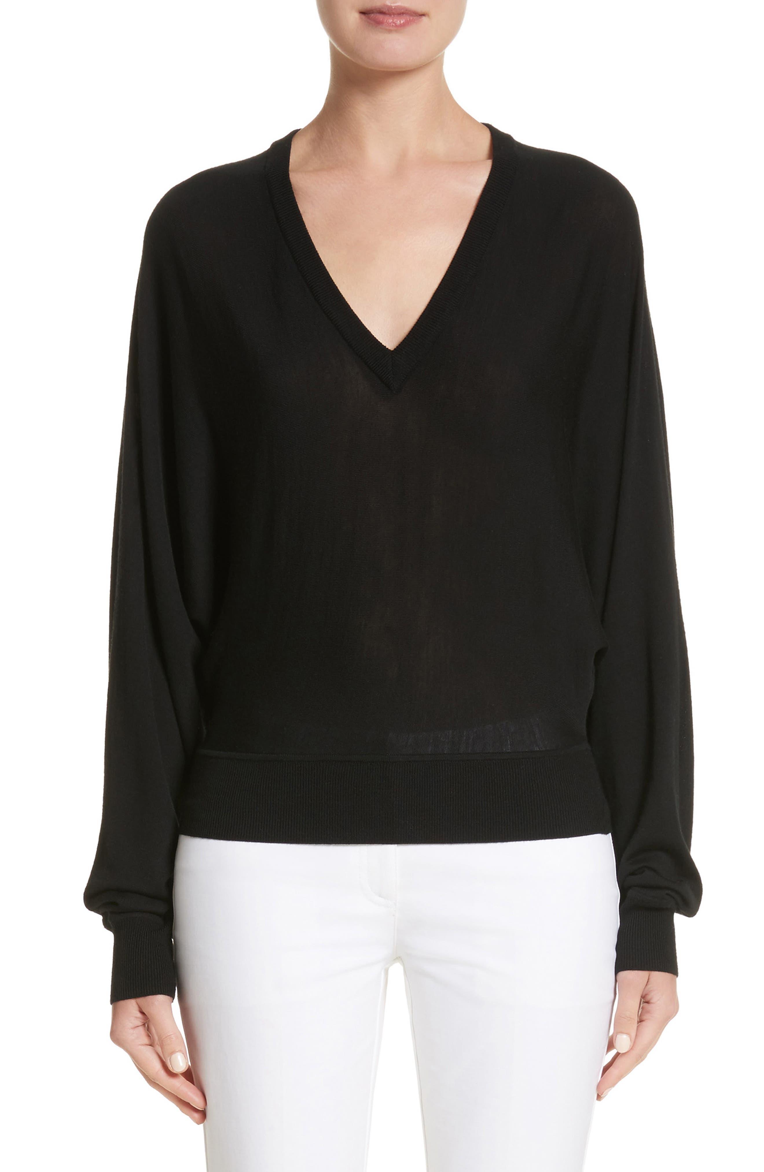 Merino Wool Blend Dolman Sweater,                         Main,                         color, Black