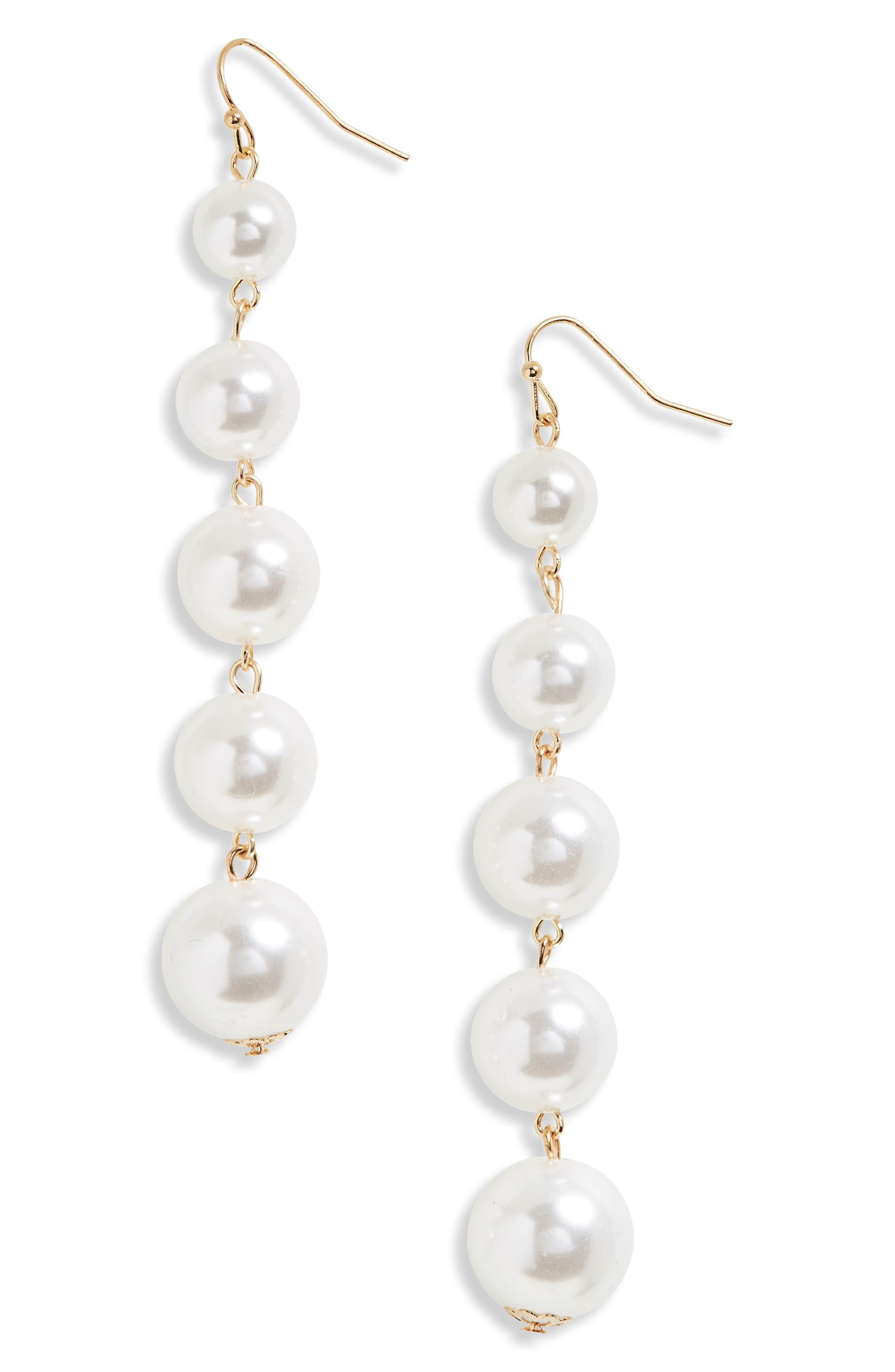 Faux Pearl Drop Earrings,                         Main,                         color, Iridescent