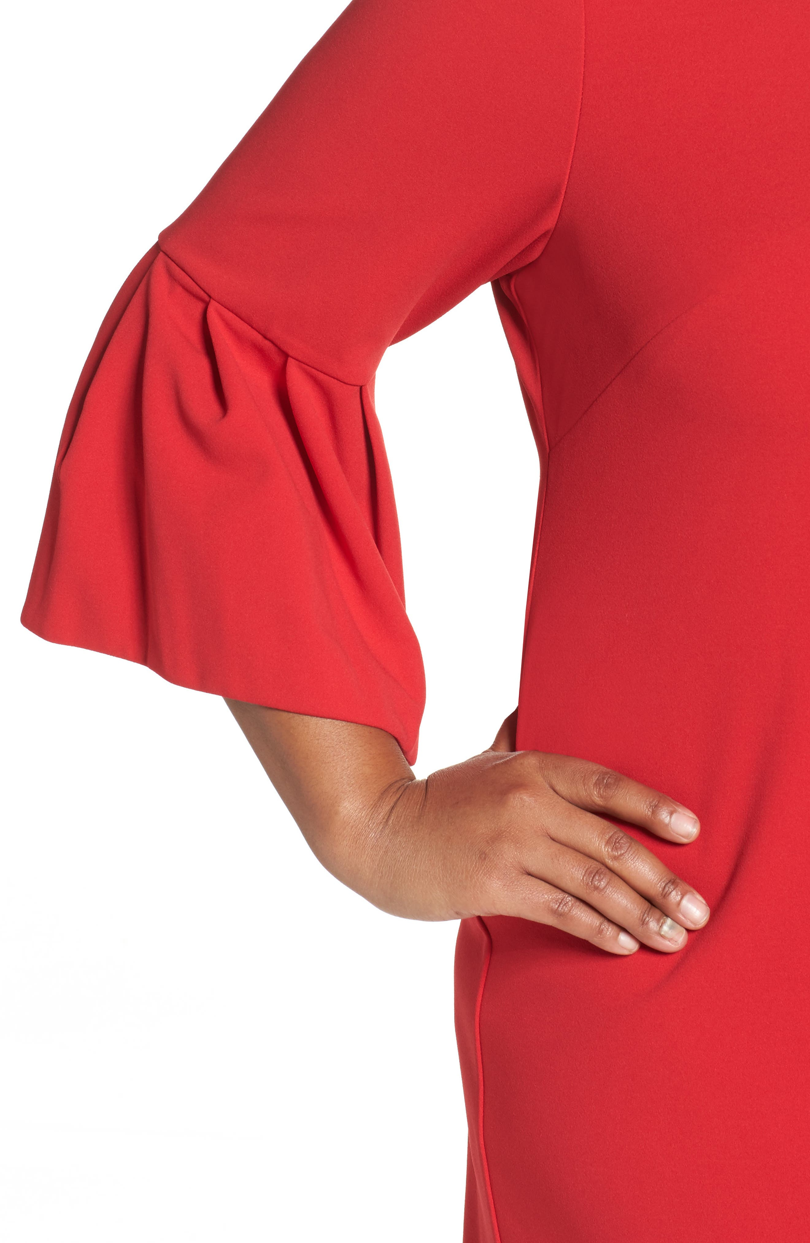 Bell Sleeve Shift Dress,                             Alternate thumbnail 4, color,                             Red