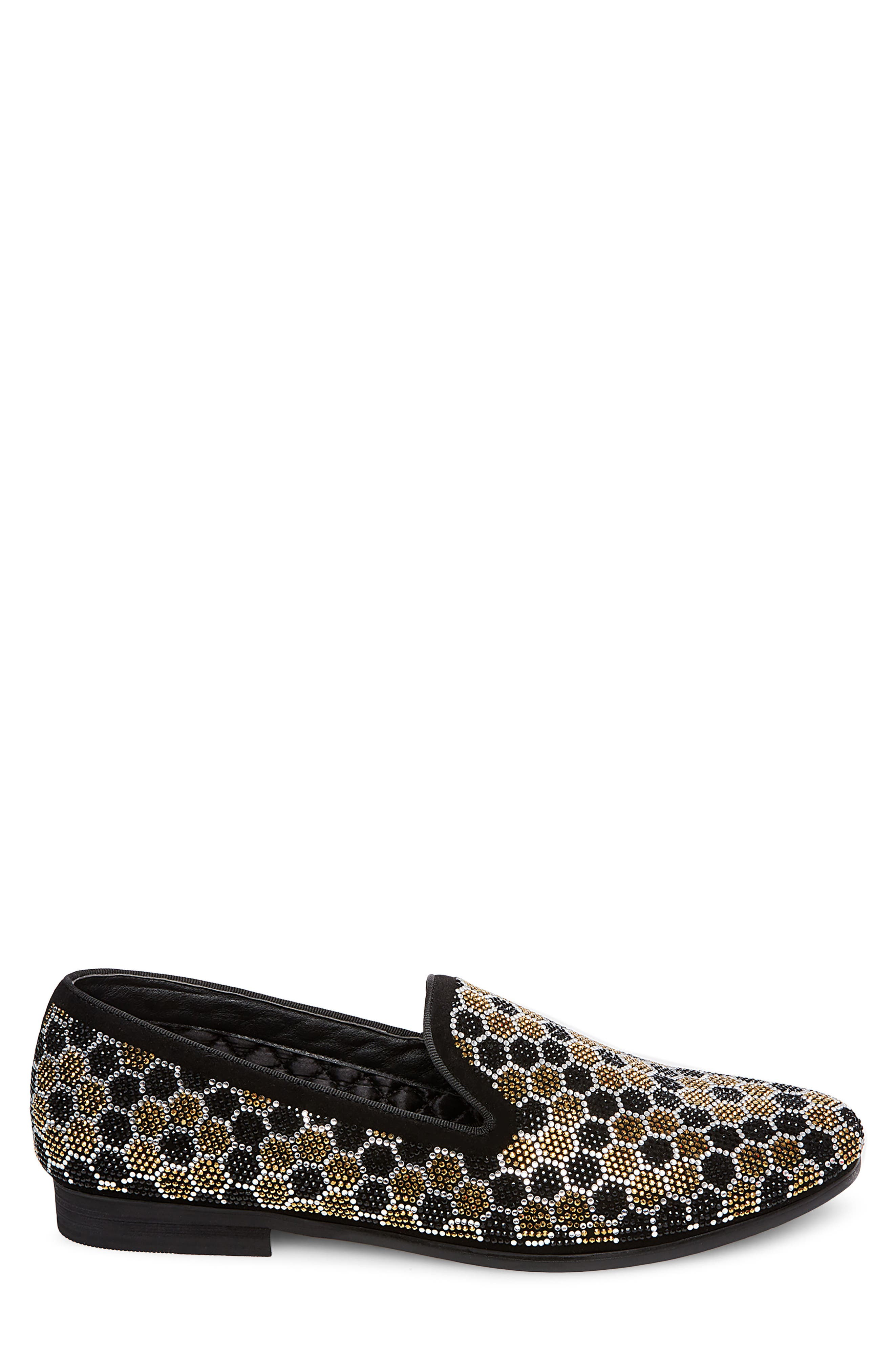 Caspian Studded Venetian Loafer,                             Alternate thumbnail 3, color,                             Black/ Gold