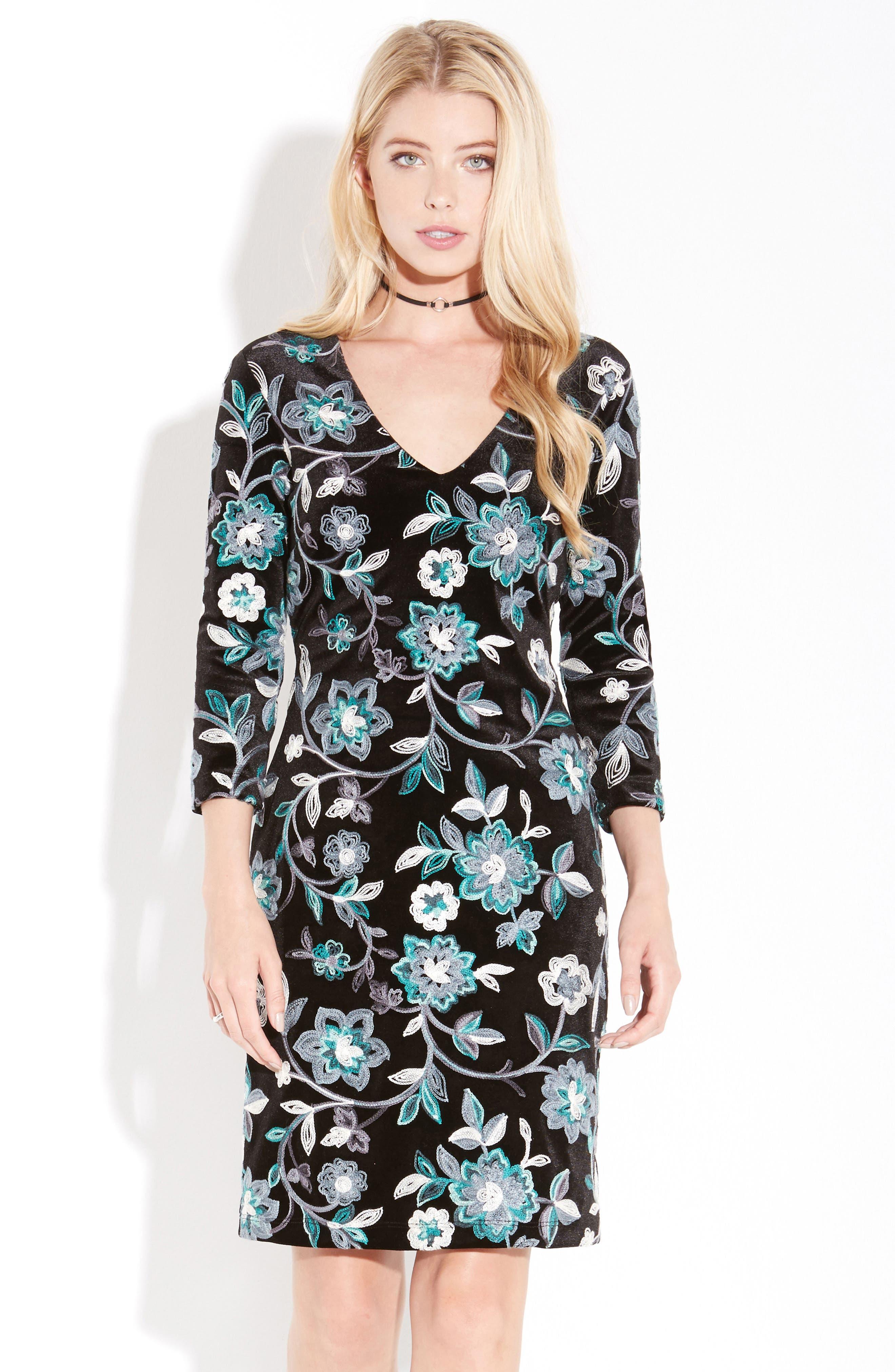 Embroidered Velvet Dress,                             Alternate thumbnail 2, color,                             Multi-Colored