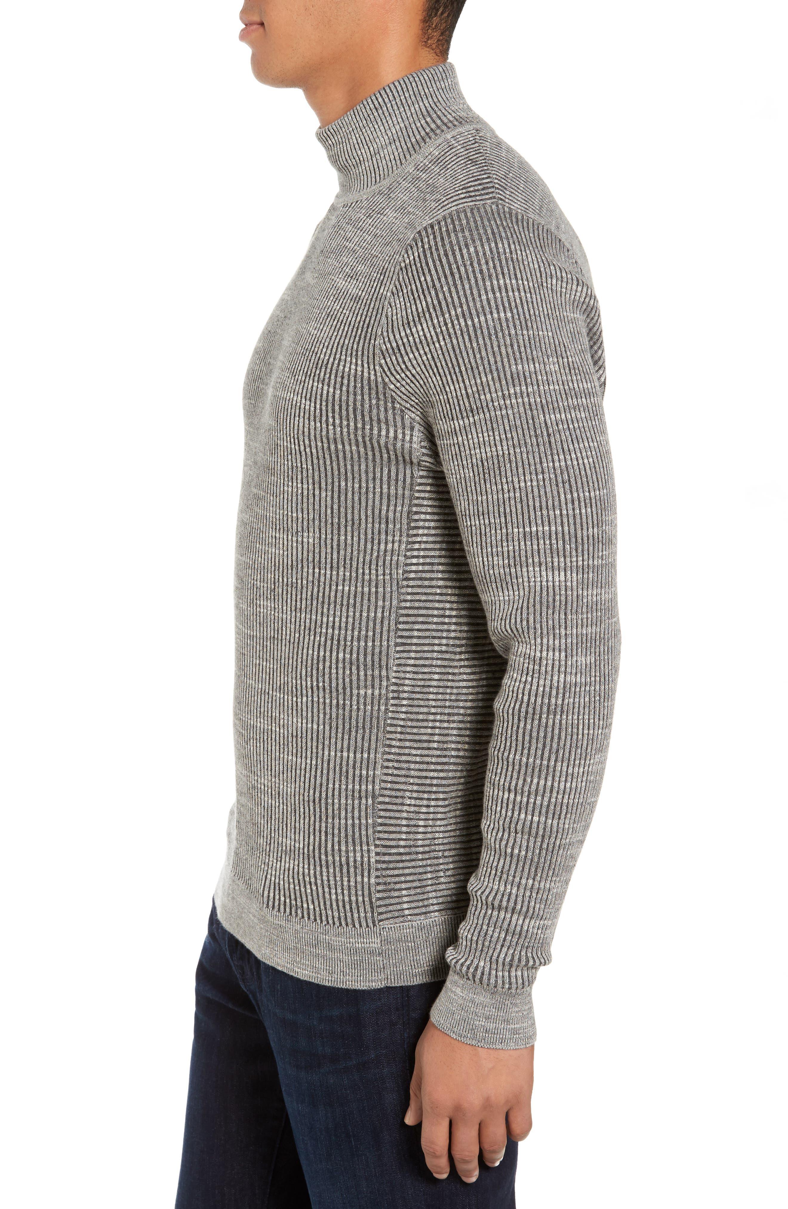 Mock Neck Sweater,                             Alternate thumbnail 3, color,                             Grey Dark Charcoal