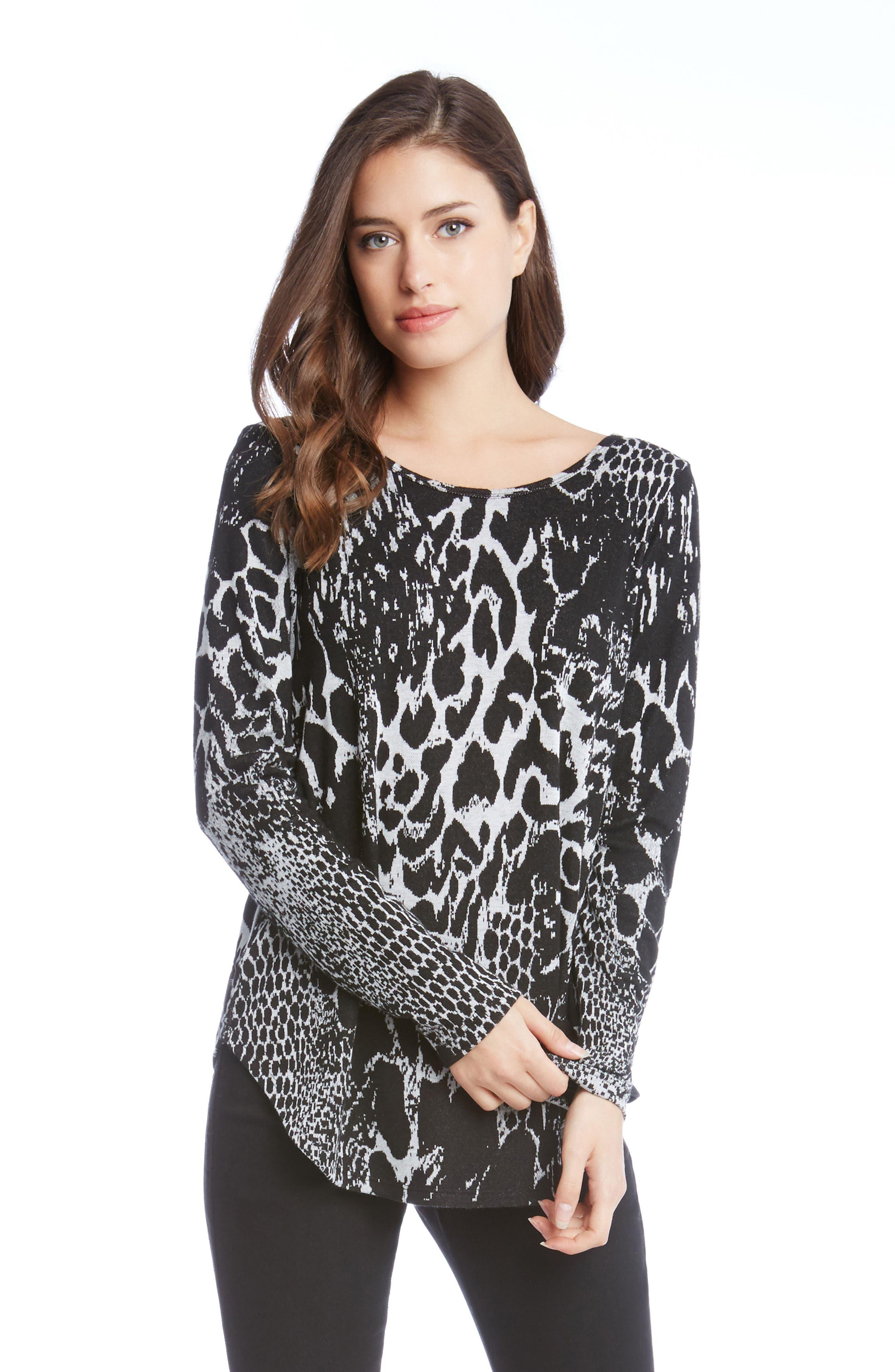 Alternate Image 2  - Karen Kane Animal Print Shirttail Top