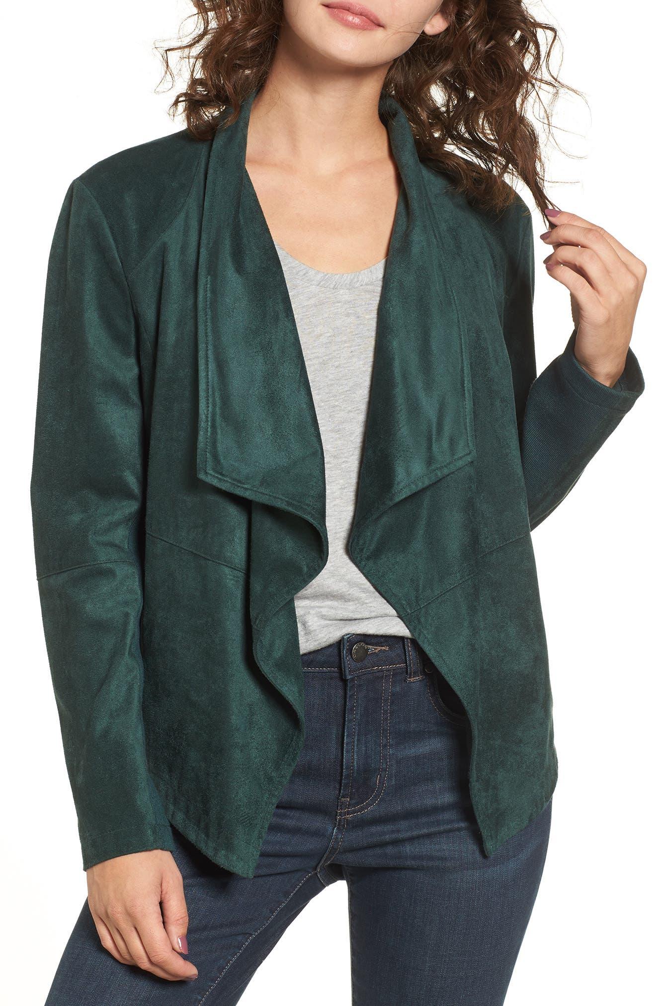 BB Dakota 'Nicholson' Faux Suede Drape Front Jacket