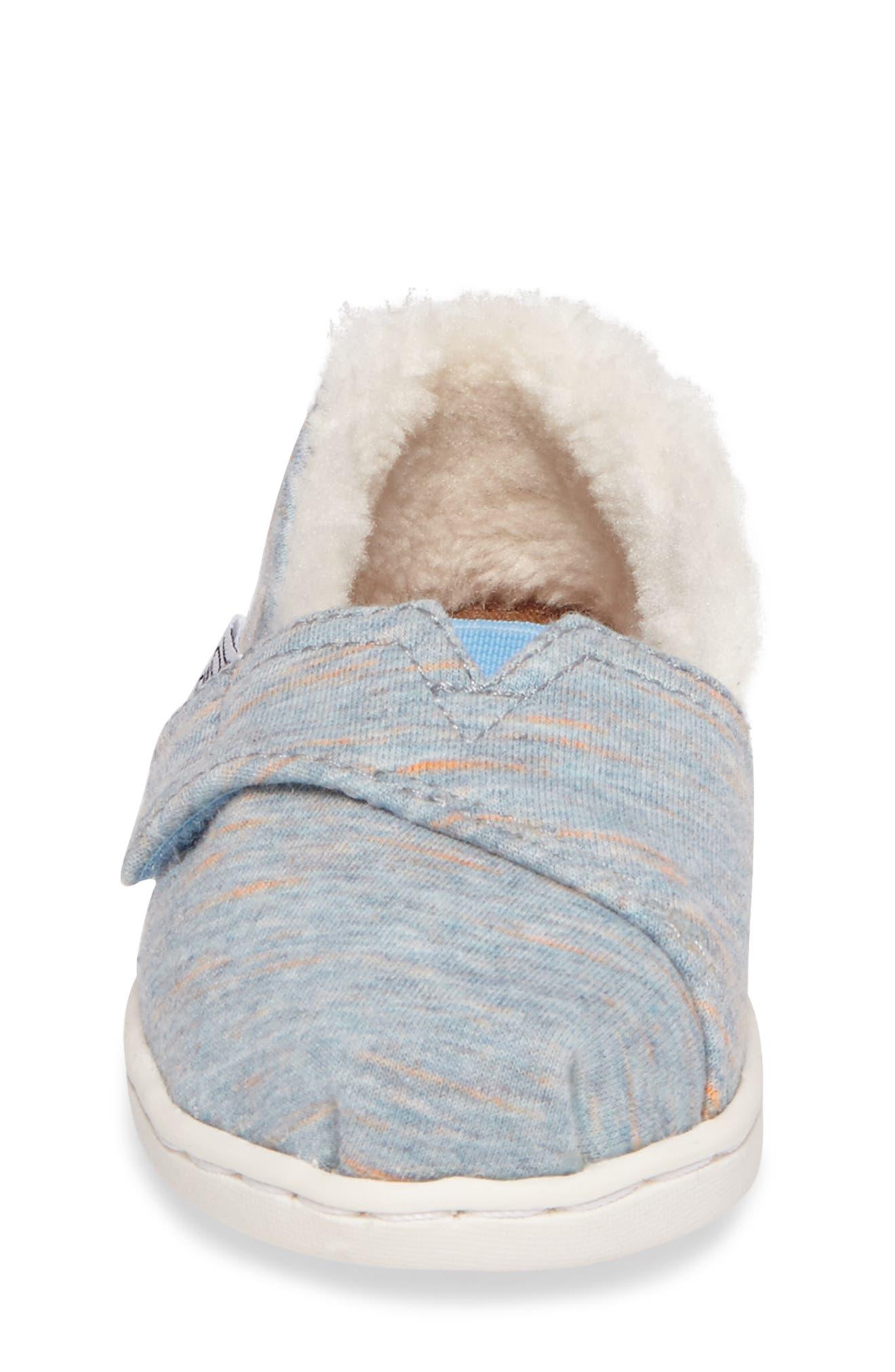 Classic - Tiny Herringbone Faux Shearling Lined Slip-On,                             Alternate thumbnail 5, color,                             Alaskan Blue Heather Jersey