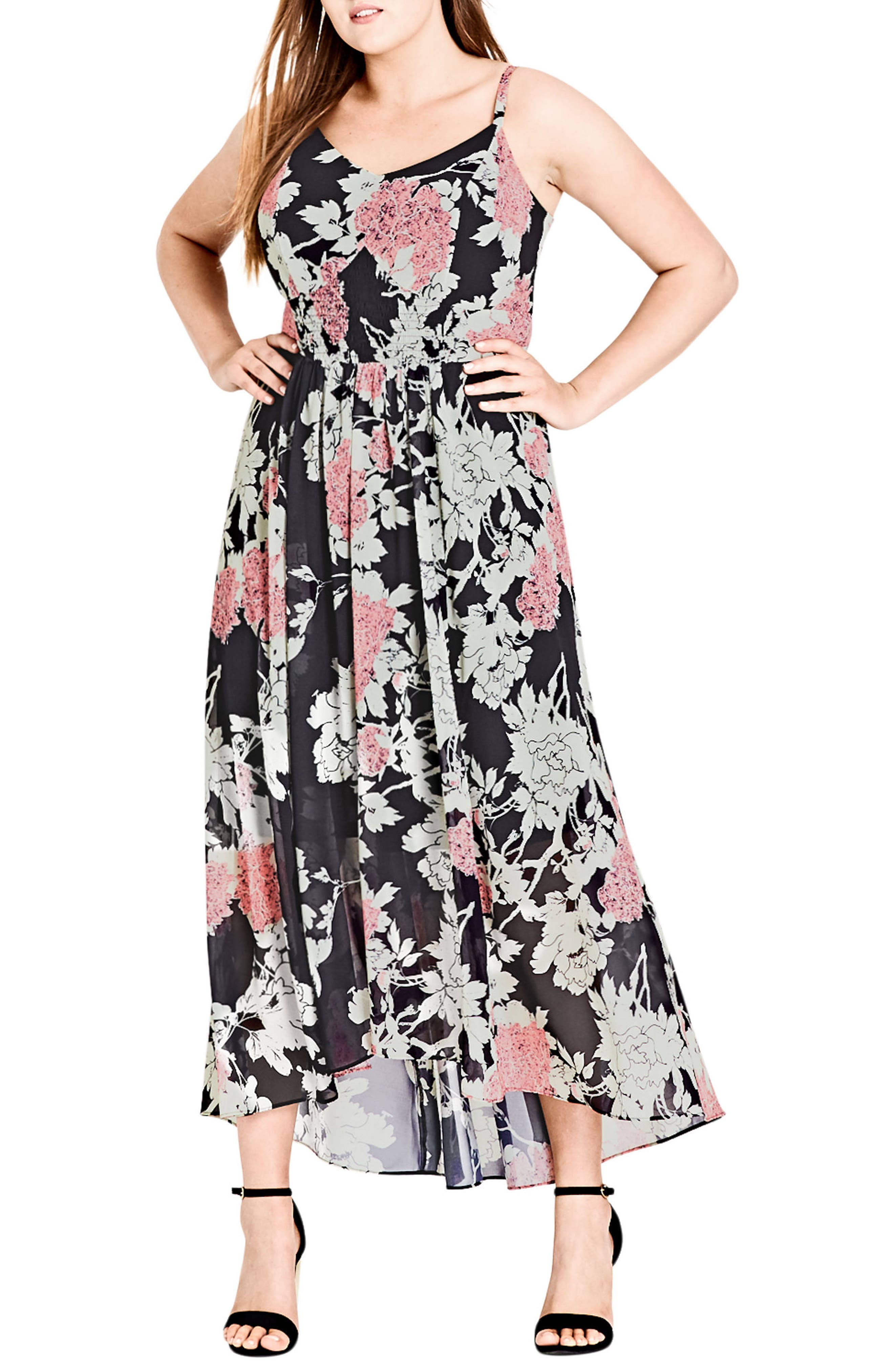Alternate Image 1 Selected - City Chic Bonsai Floral Maxi Dress (Plus Size)