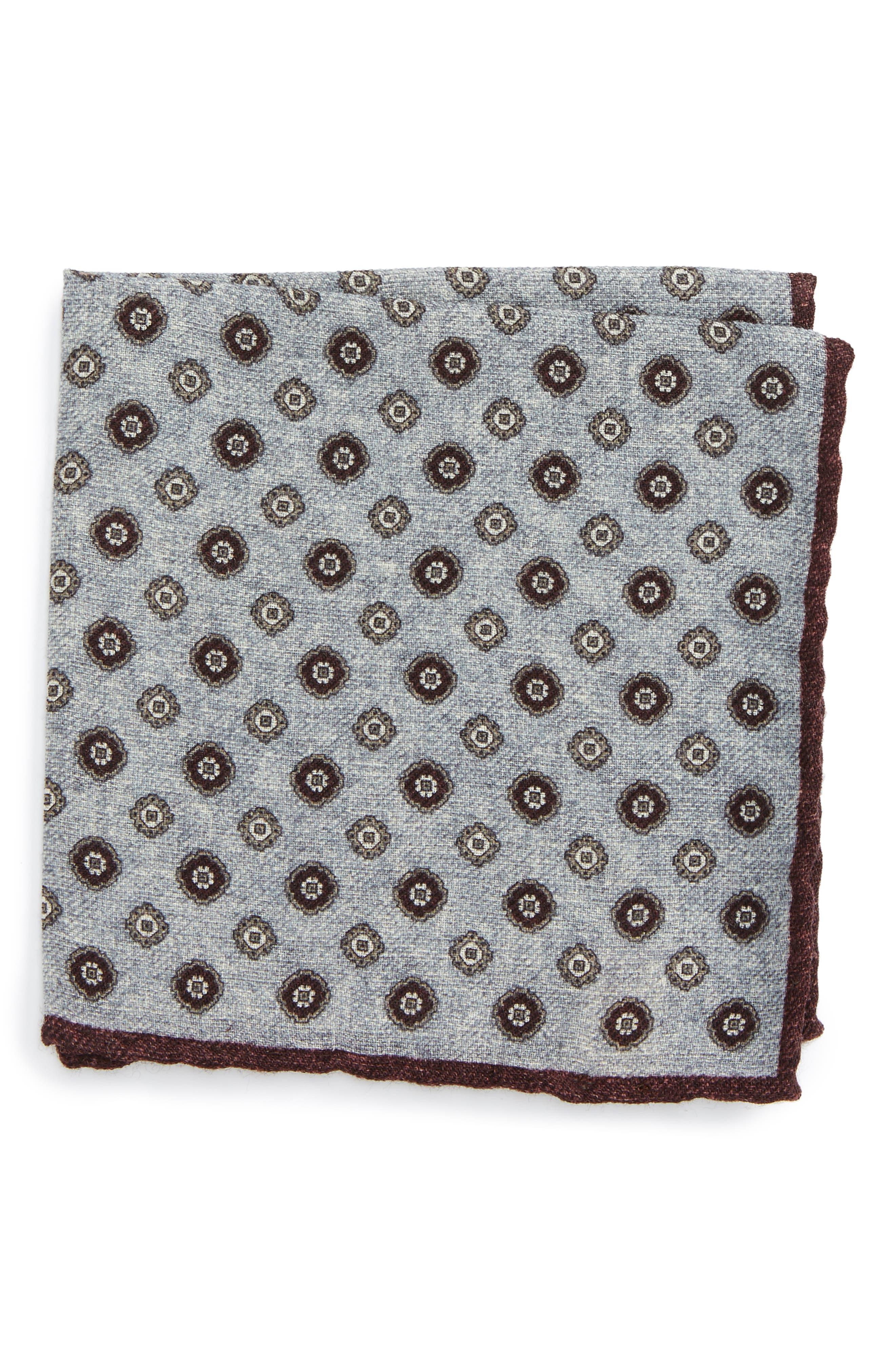 Main Image - Eleventy Medallion Wool Pocket Square