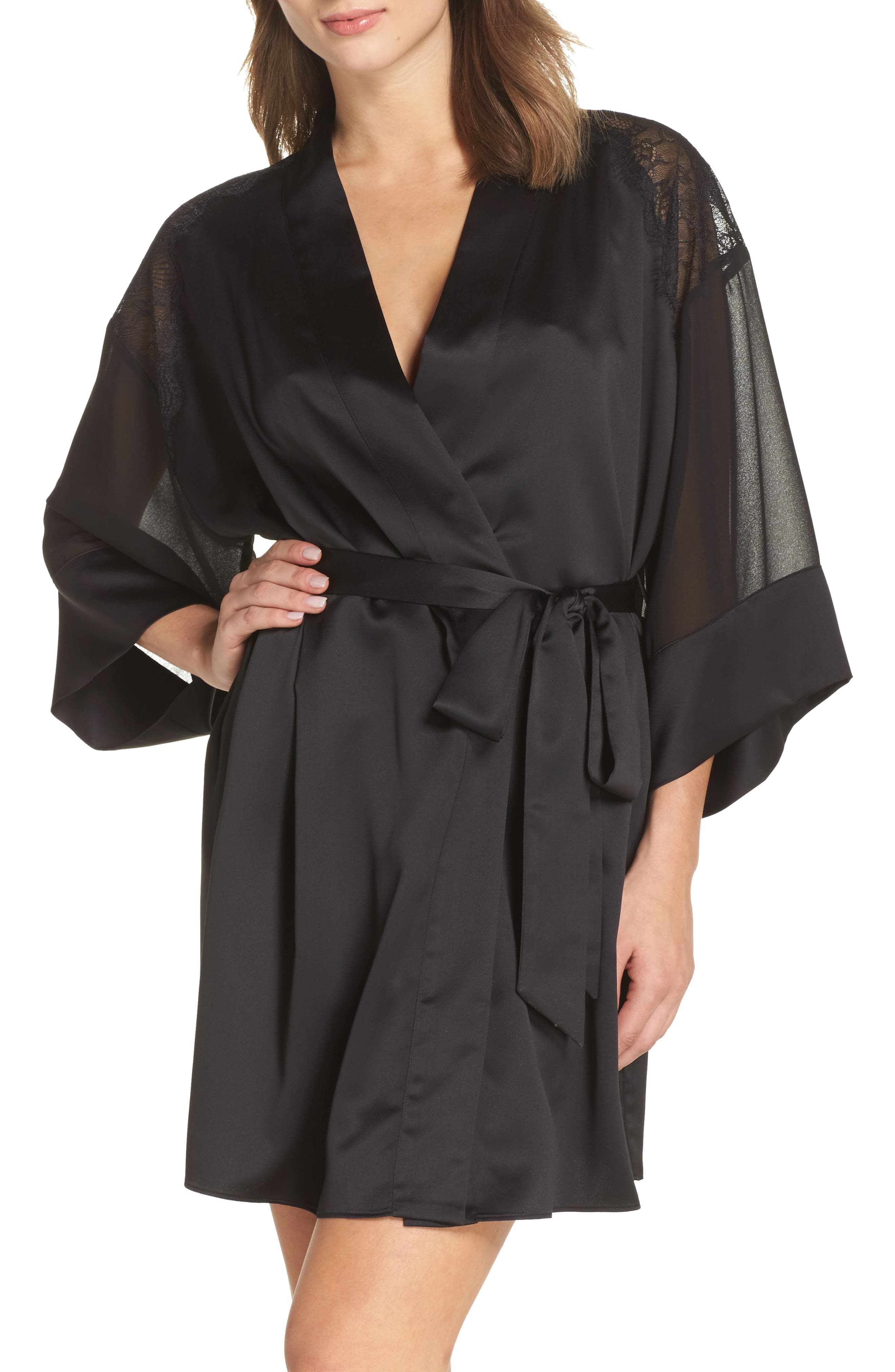 Margot Kimono Robe,                             Main thumbnail 1, color,                             Black