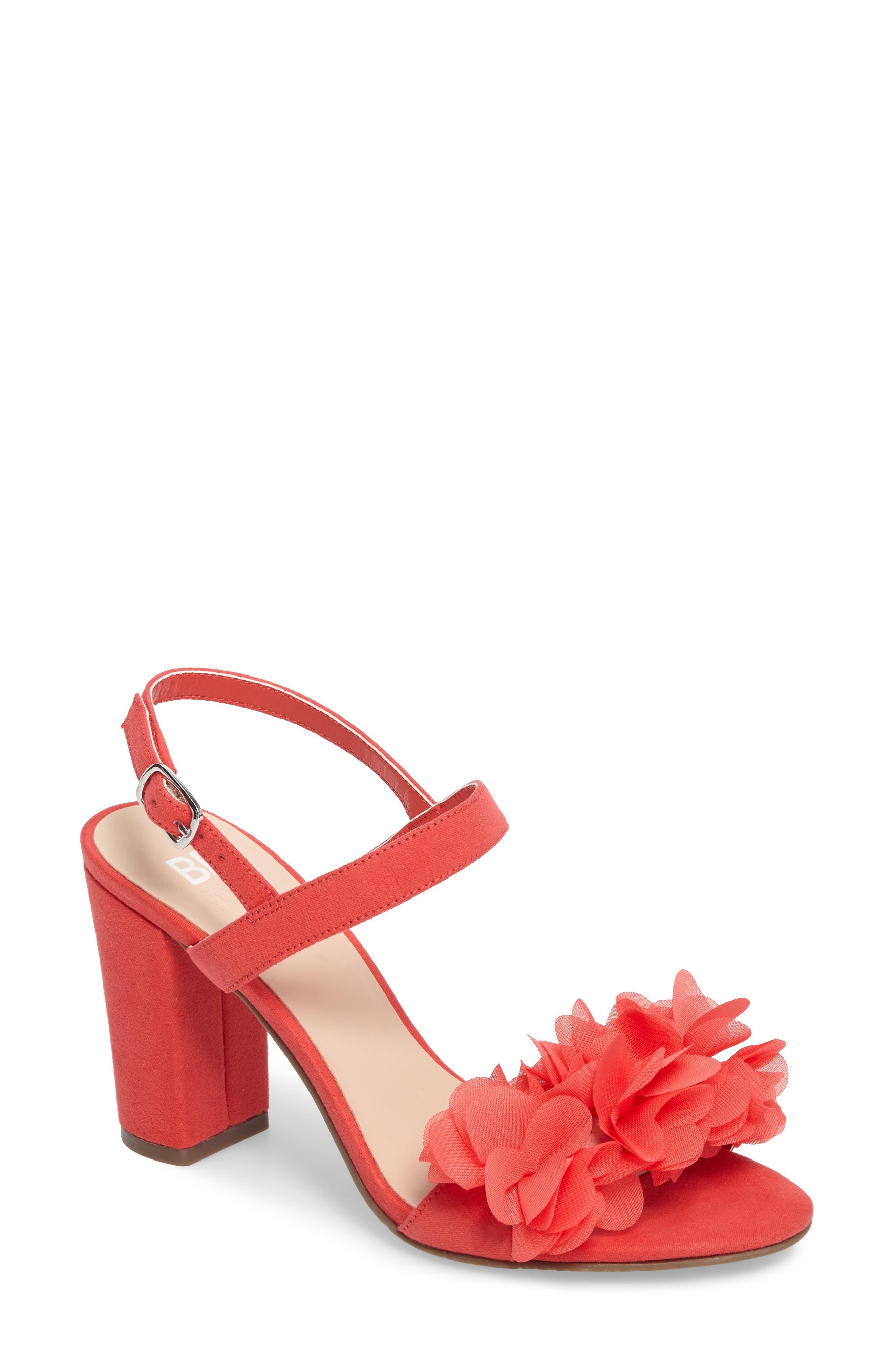 Lula Block Heel Slingback Sandal,                             Main thumbnail 1, color,                             Coral Flowers Faux Suede
