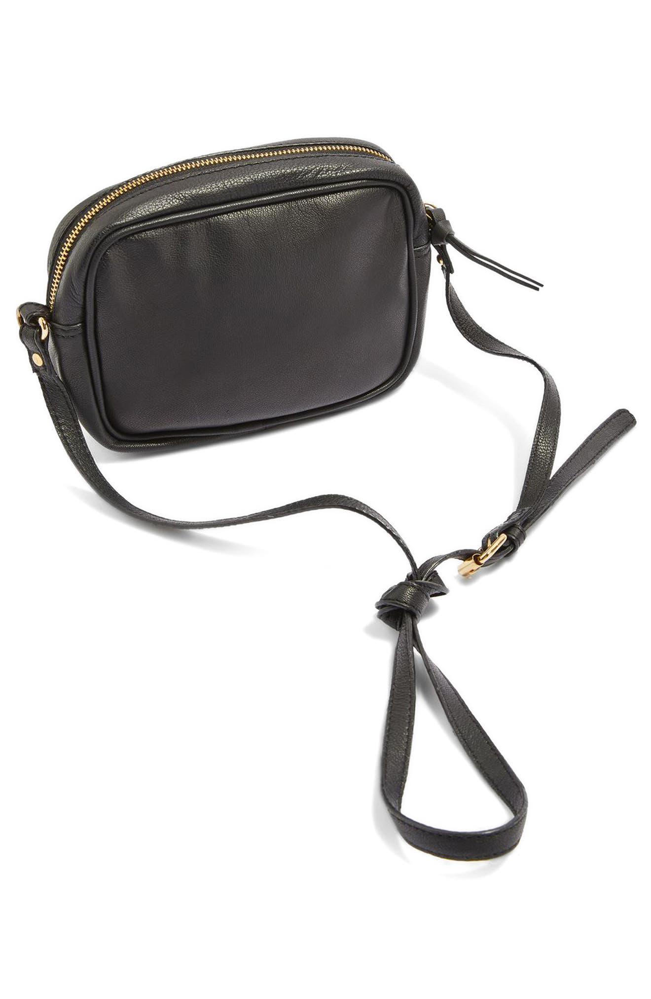 Alternate Image 4  - Topshop Floral Embroidered Leather Crossbody Bag