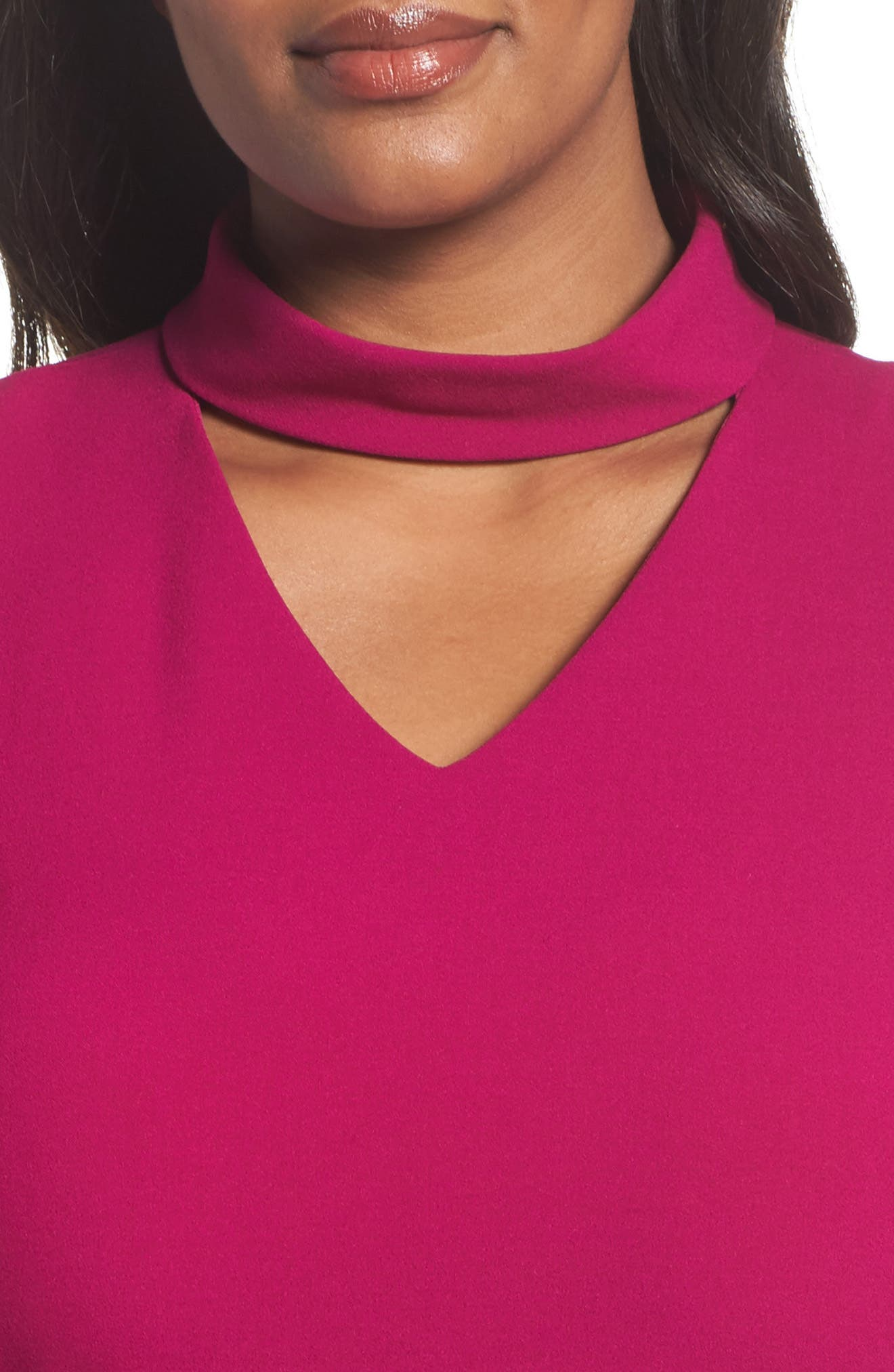 Mock Choker Neck A-Line Dress,                             Alternate thumbnail 4, color,                             Magenta