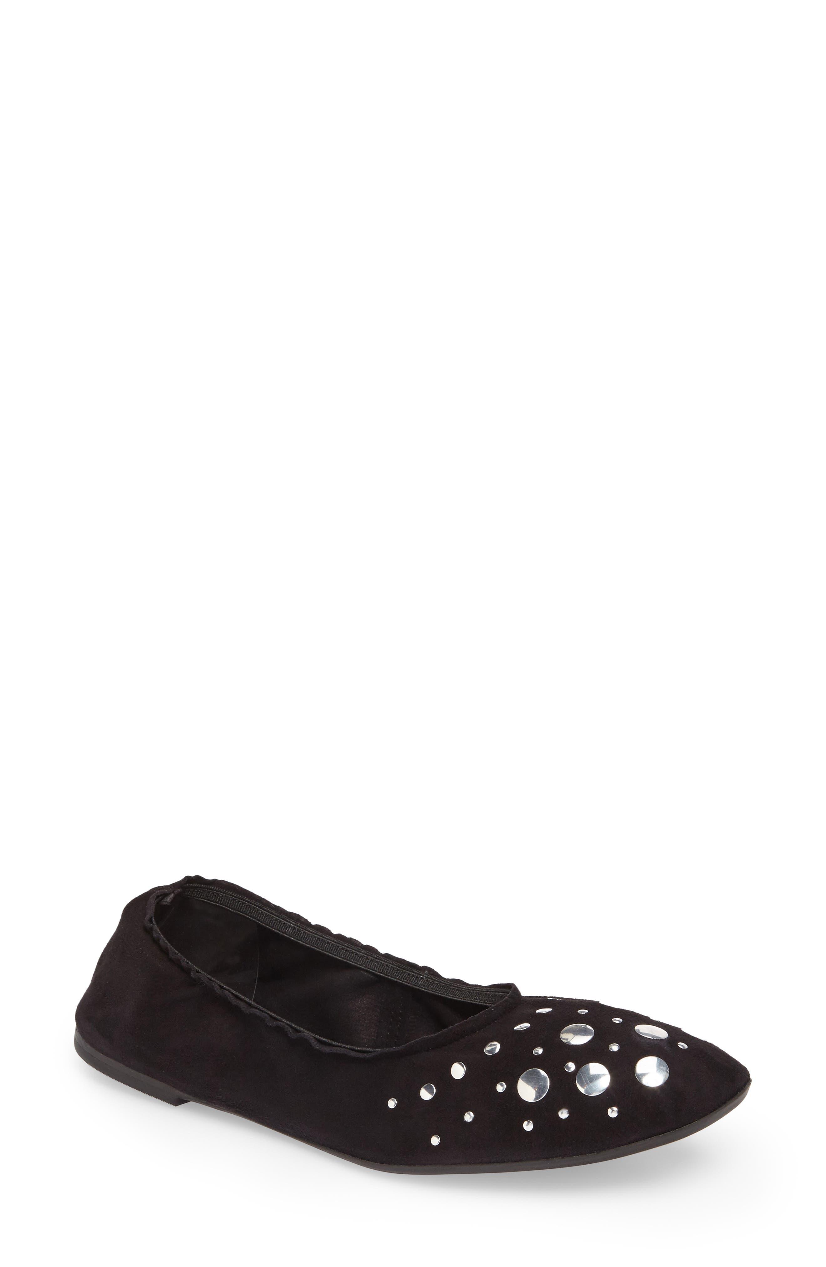 Jacob Ballet Flat,                             Main thumbnail 1, color,                             Black Leather