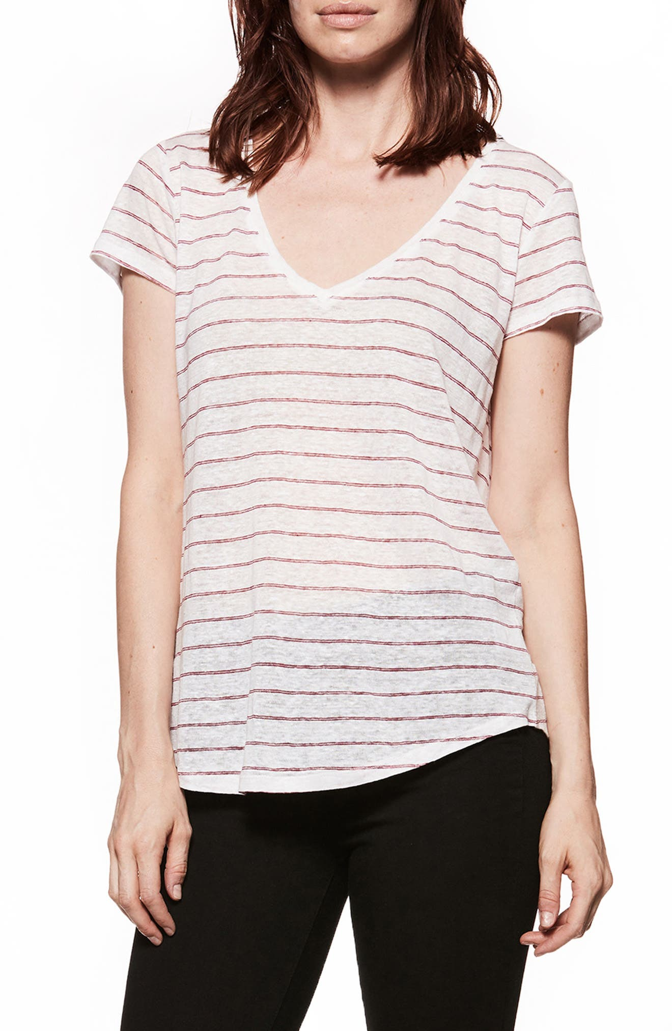 Lynnea Stripe Linen Tee,                         Main,                         color, White/ Beaujolais Stripe