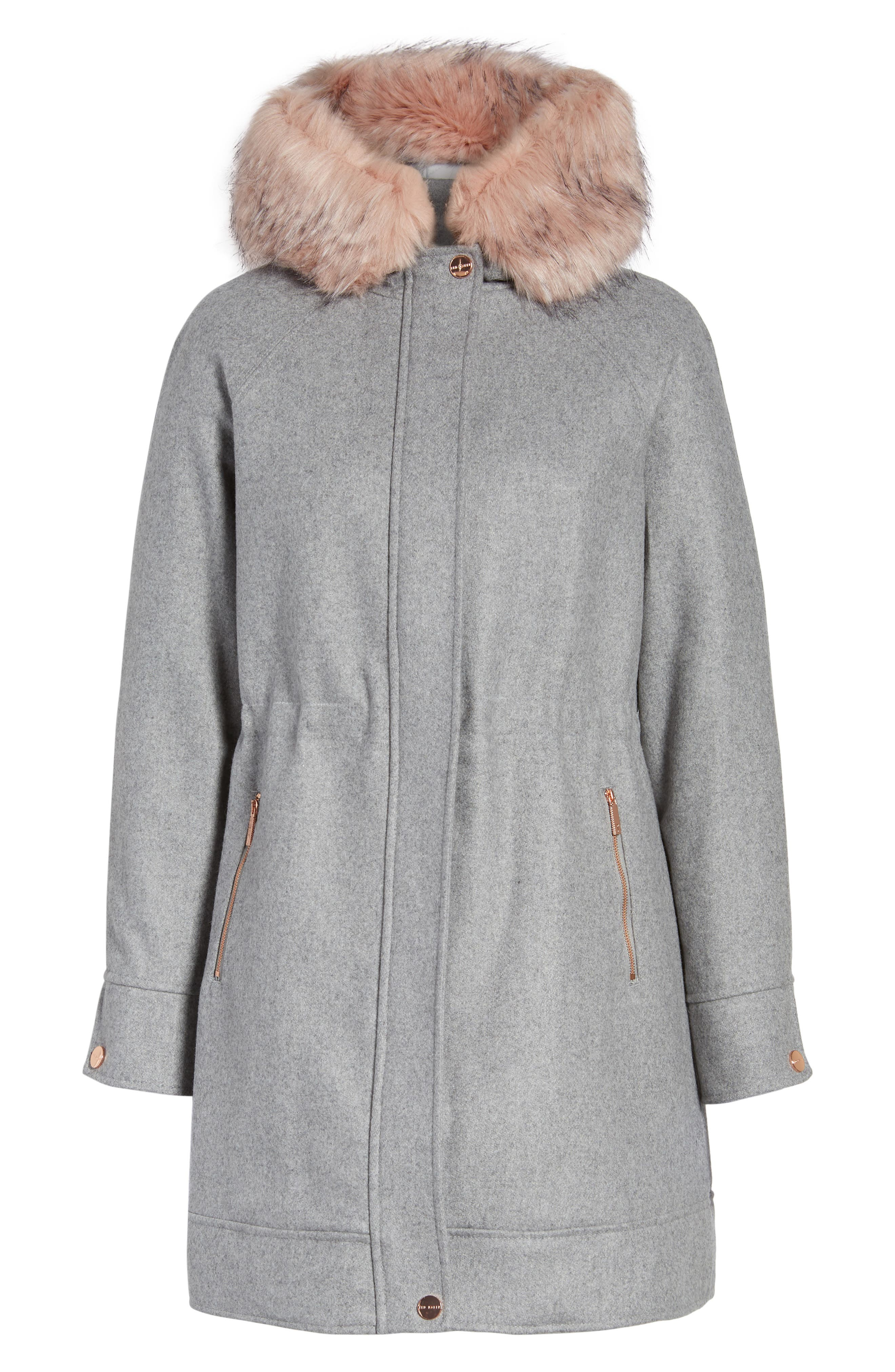 Alternate Image 6  - Ted Baker London Wool Coat with Faux Fur Trim