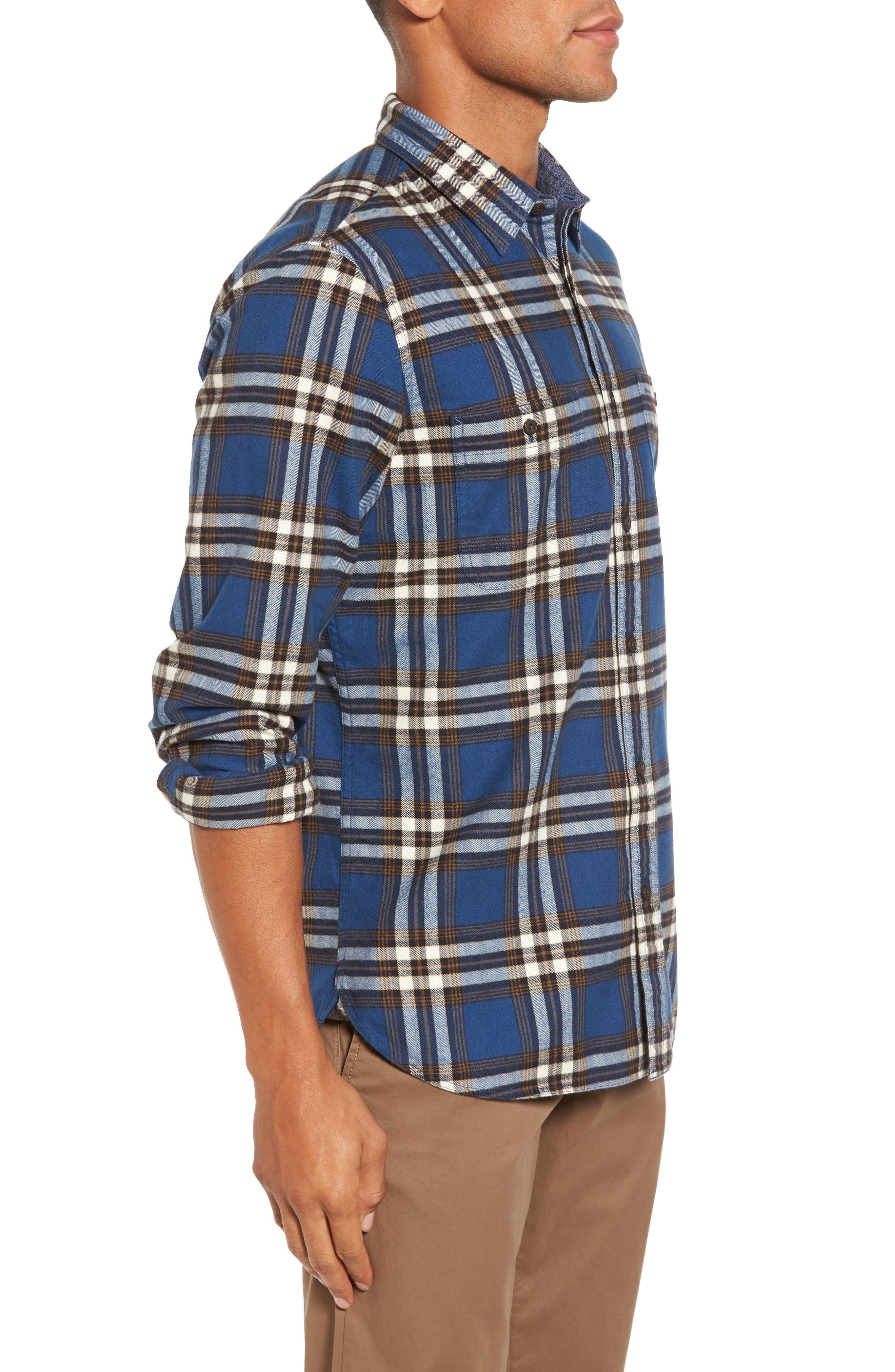 Trim Fit Workwear Check Flannel Shirt,                             Alternate thumbnail 3, color,                             Blue Vintage Brown Plaid