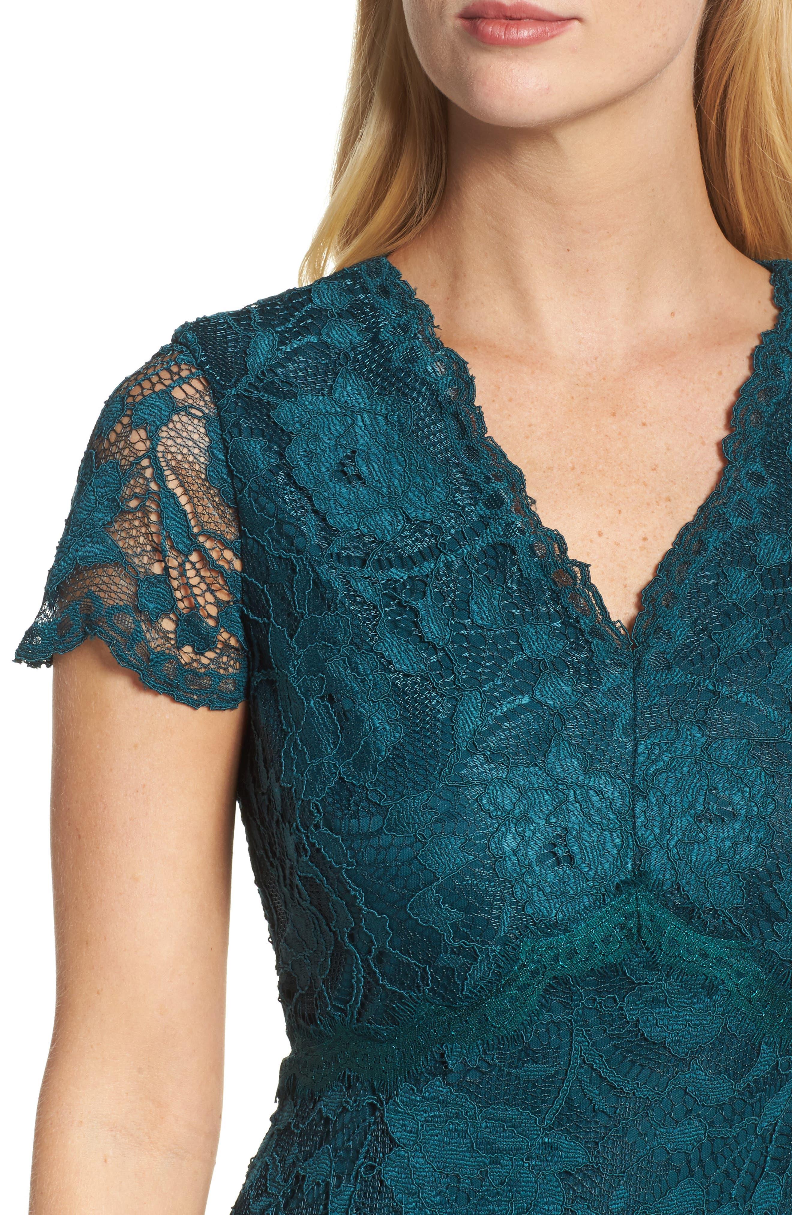 Lace Sheath Dress,                             Alternate thumbnail 4, color,                             Pine