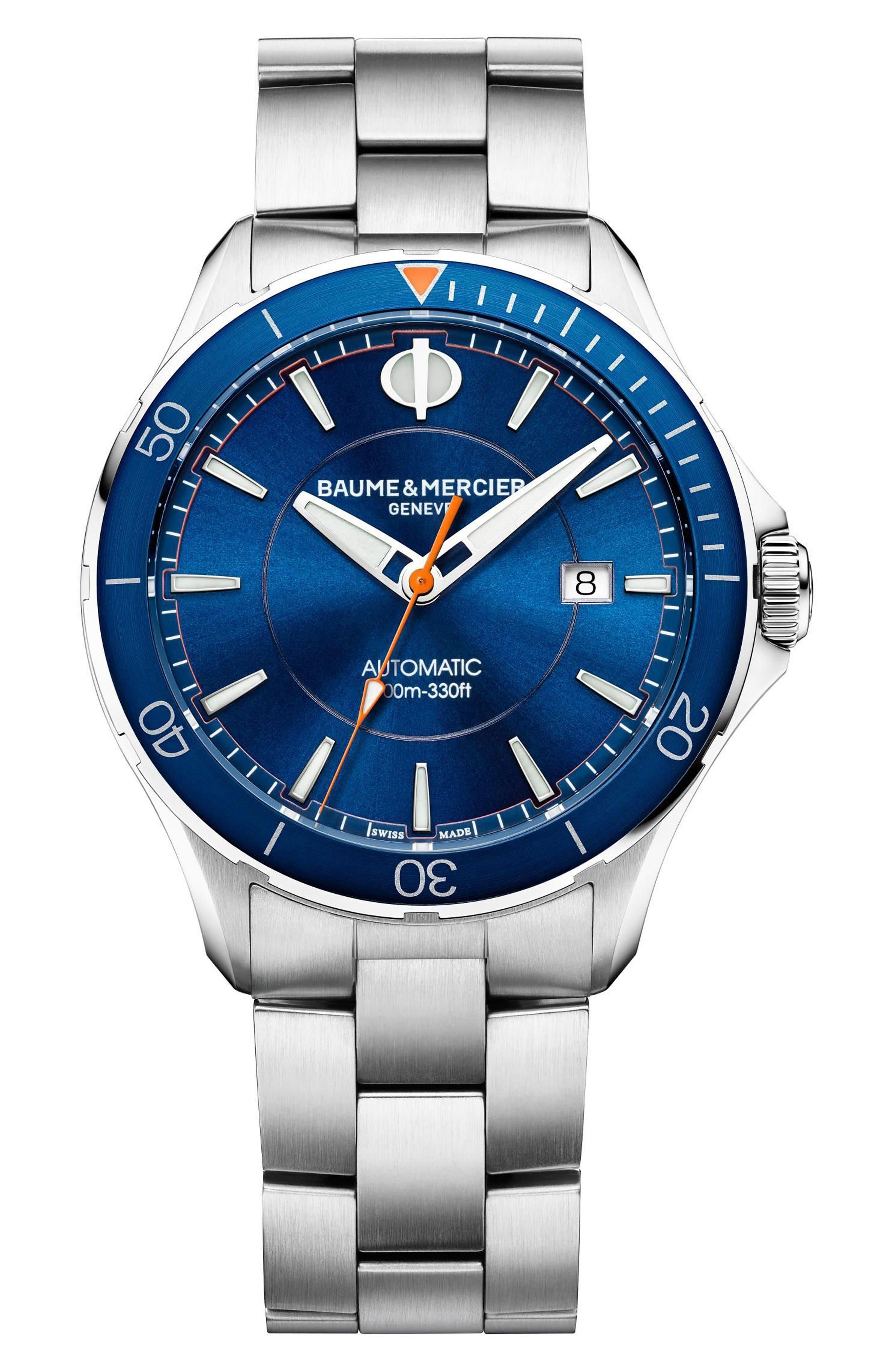 Baume & Mercier Clifton Automatic Bracelet Watch, 42mm,                             Main thumbnail 1, color,                             Blue/ Silver