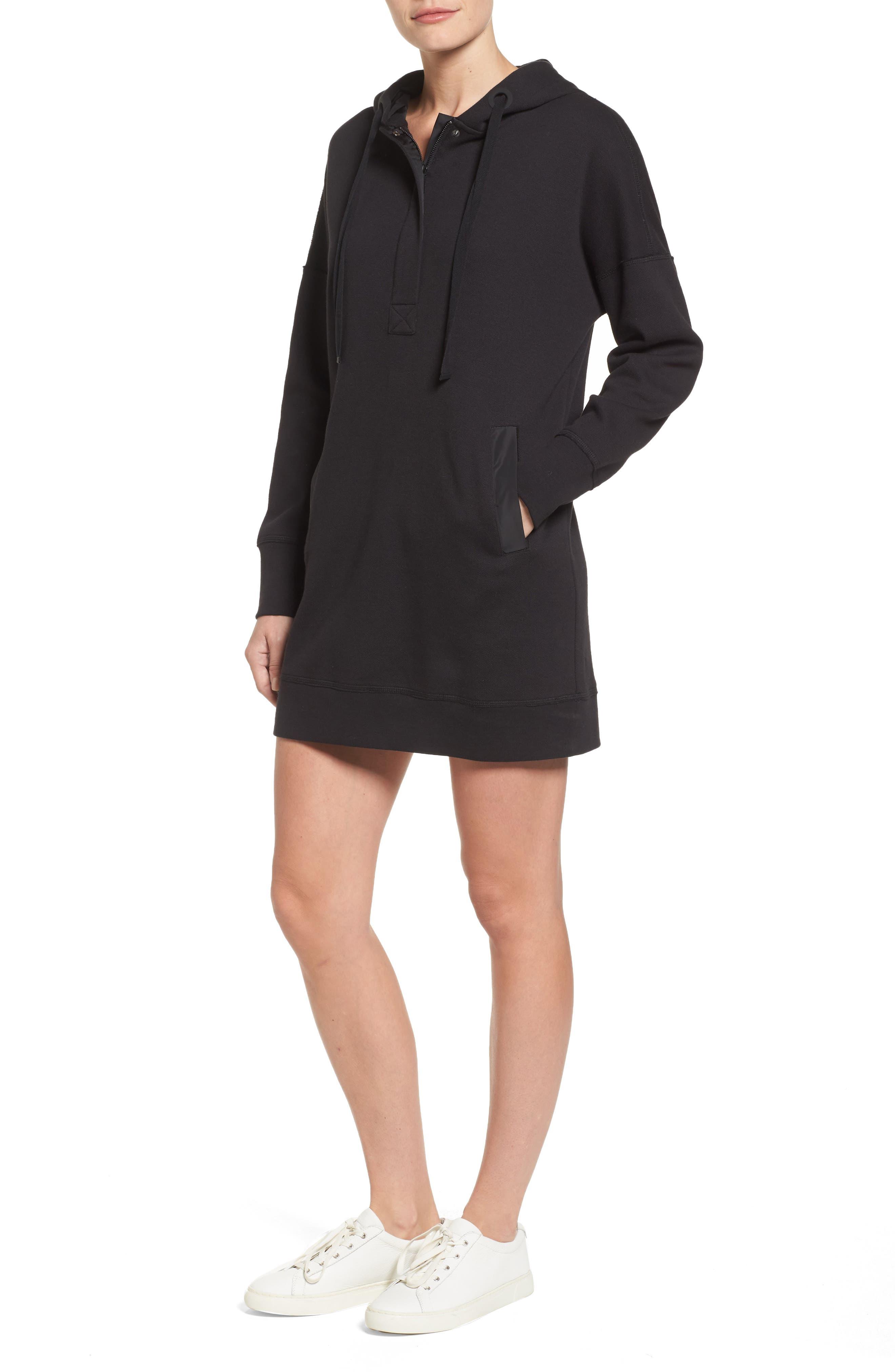 Hoodie Dress,                         Main,                         color, Black