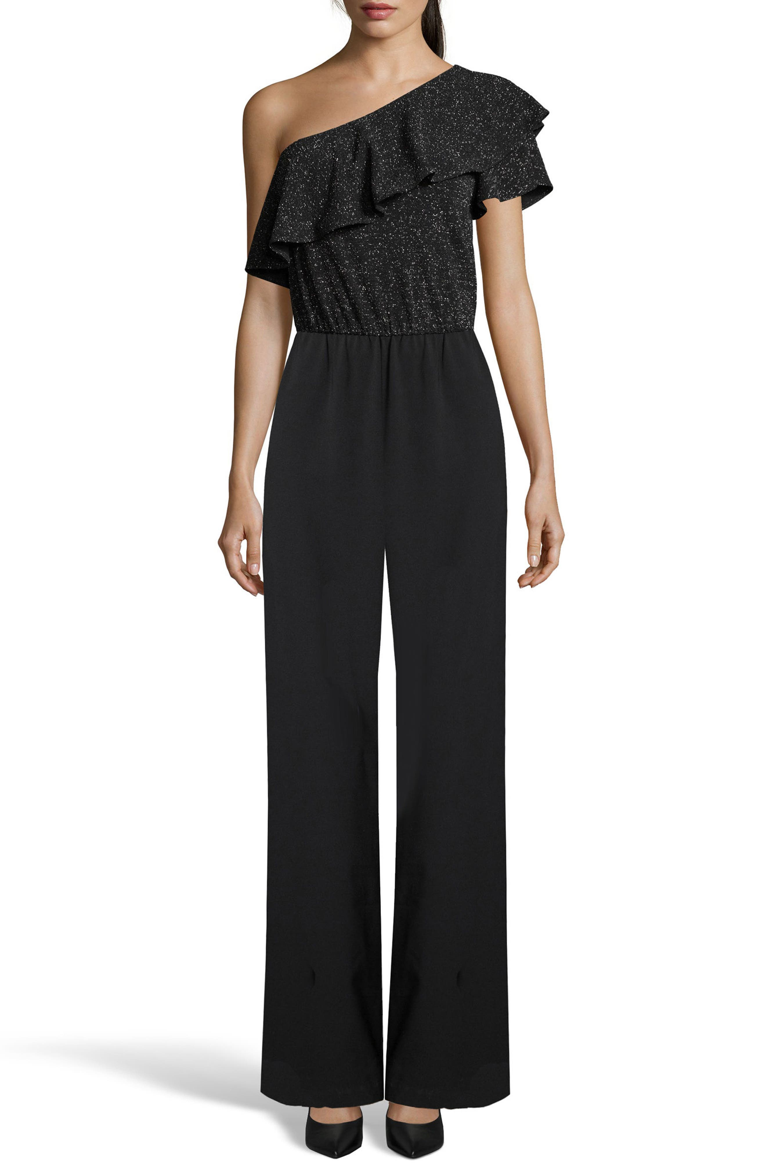 One-Shoulder Ruffle Jumpsuit,                         Main,                         color, Black/ Silver