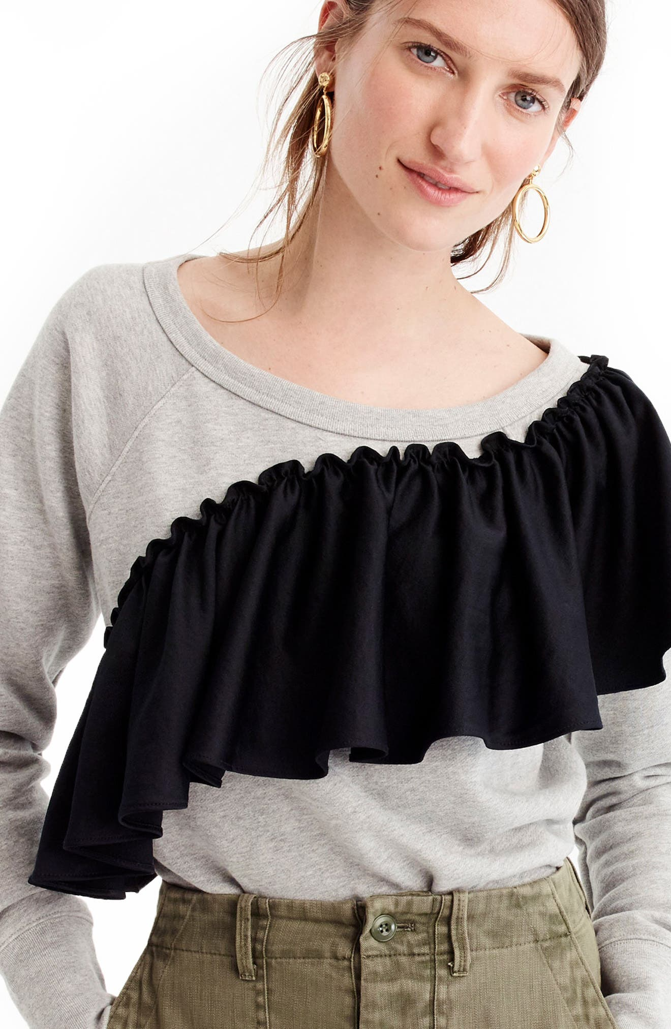 Asymmetrical Ruffle Sweatshirt,                         Main,                         color, Light Grey