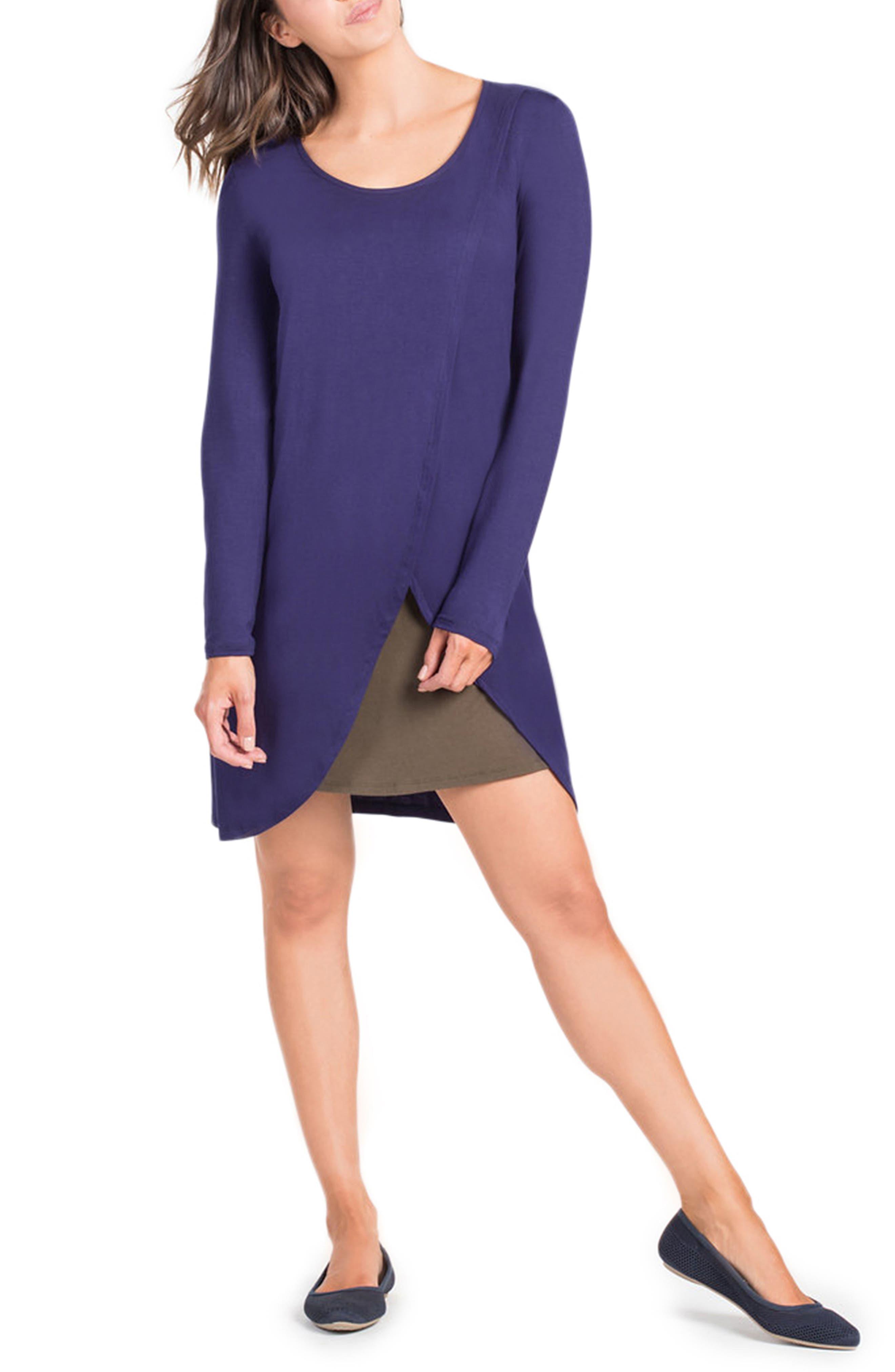 Lenox Crossover Front Maternity/Nursing Dress,                             Alternate thumbnail 3, color,                             Navy/ Olive