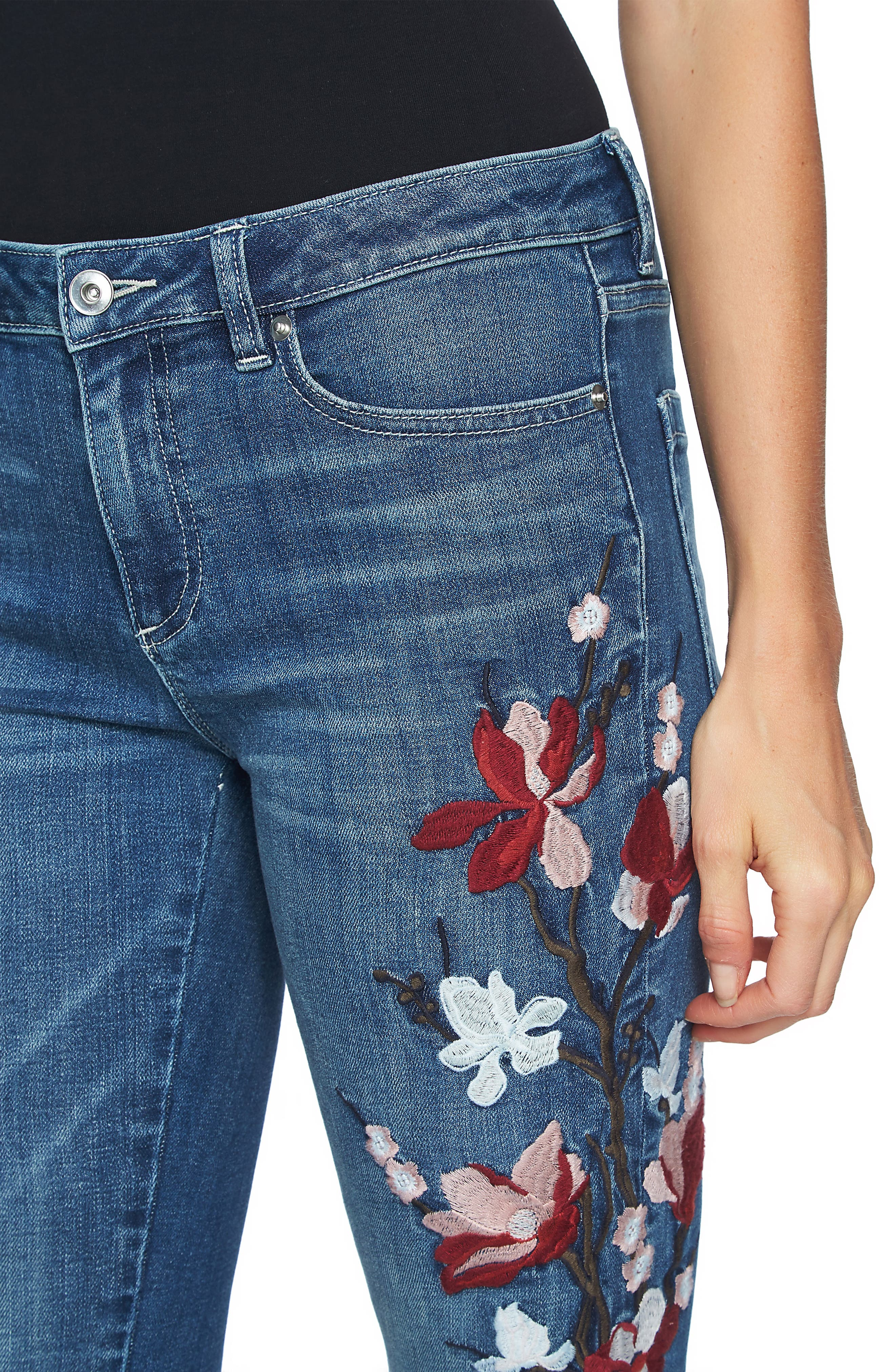 Floral Embroidered Skinny Jeans,                             Alternate thumbnail 4, color,                             True Blue