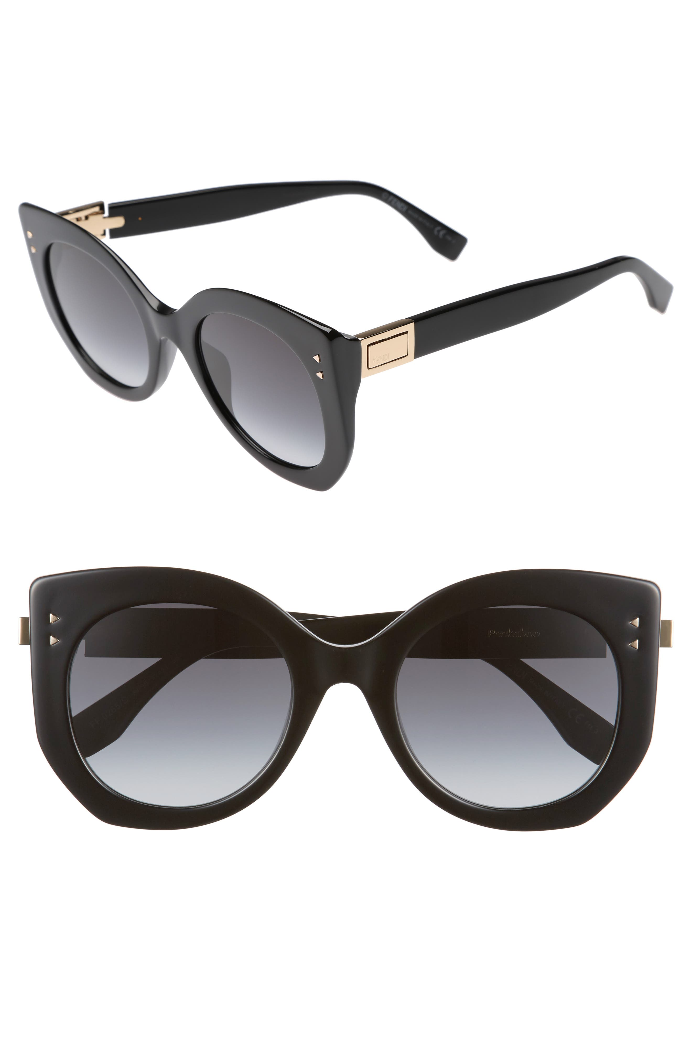 52mm Butterfly Sunglasses,                             Main thumbnail 1, color,                             Black