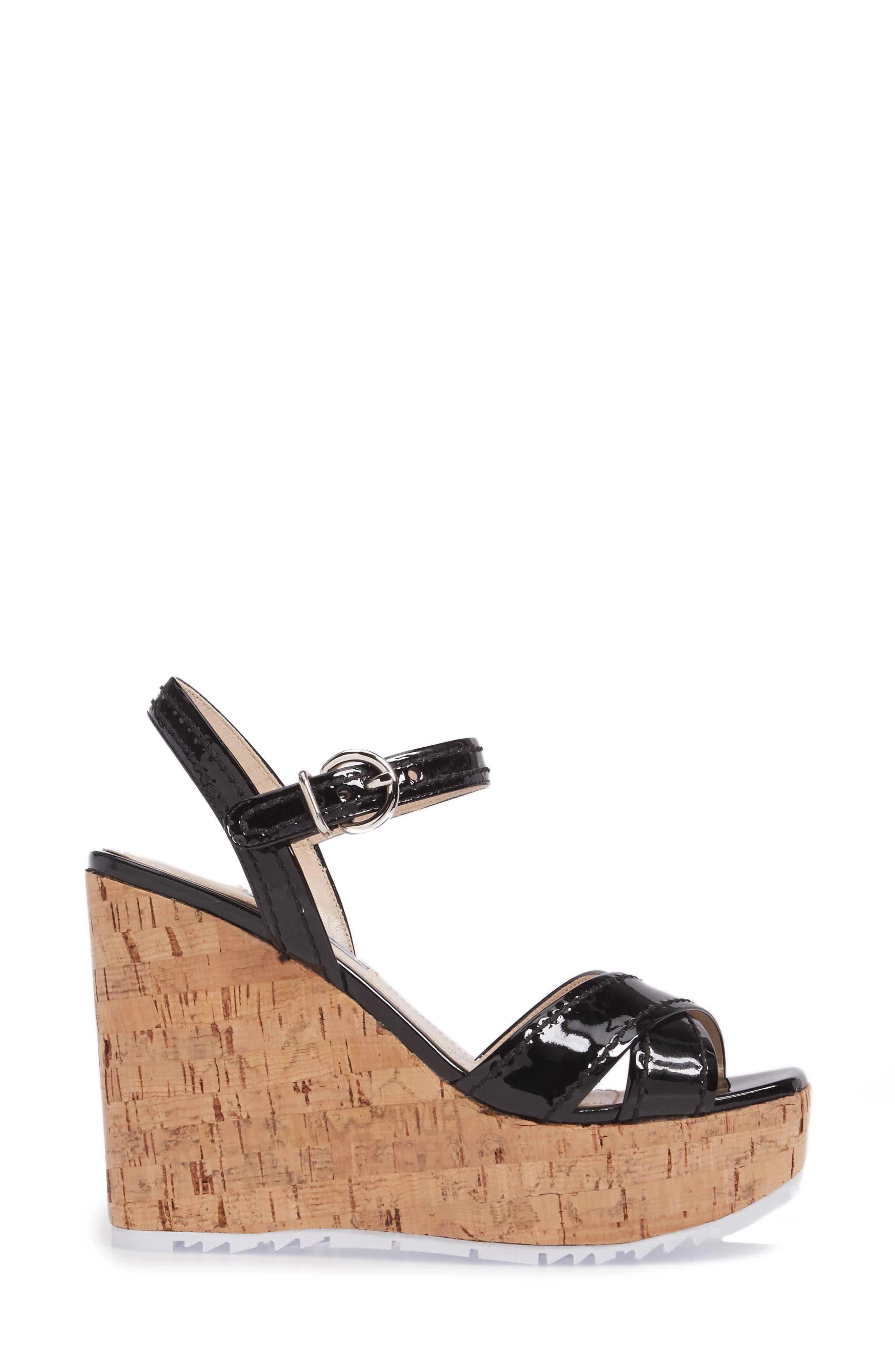 Cork Wedge Sandal,                             Alternate thumbnail 3, color,                             Black