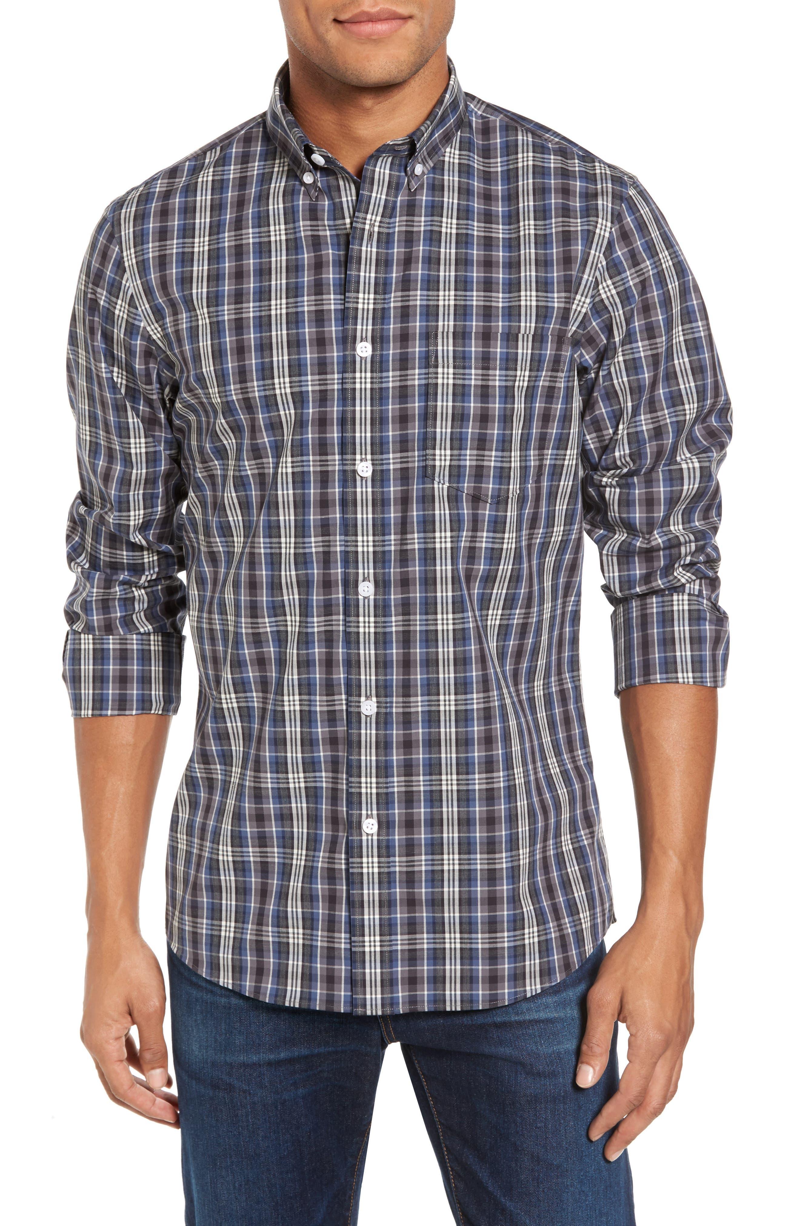 Non-Iron Trim Fit Check Sport Shirt,                         Main,                         color, Grey Phantom Blue Check