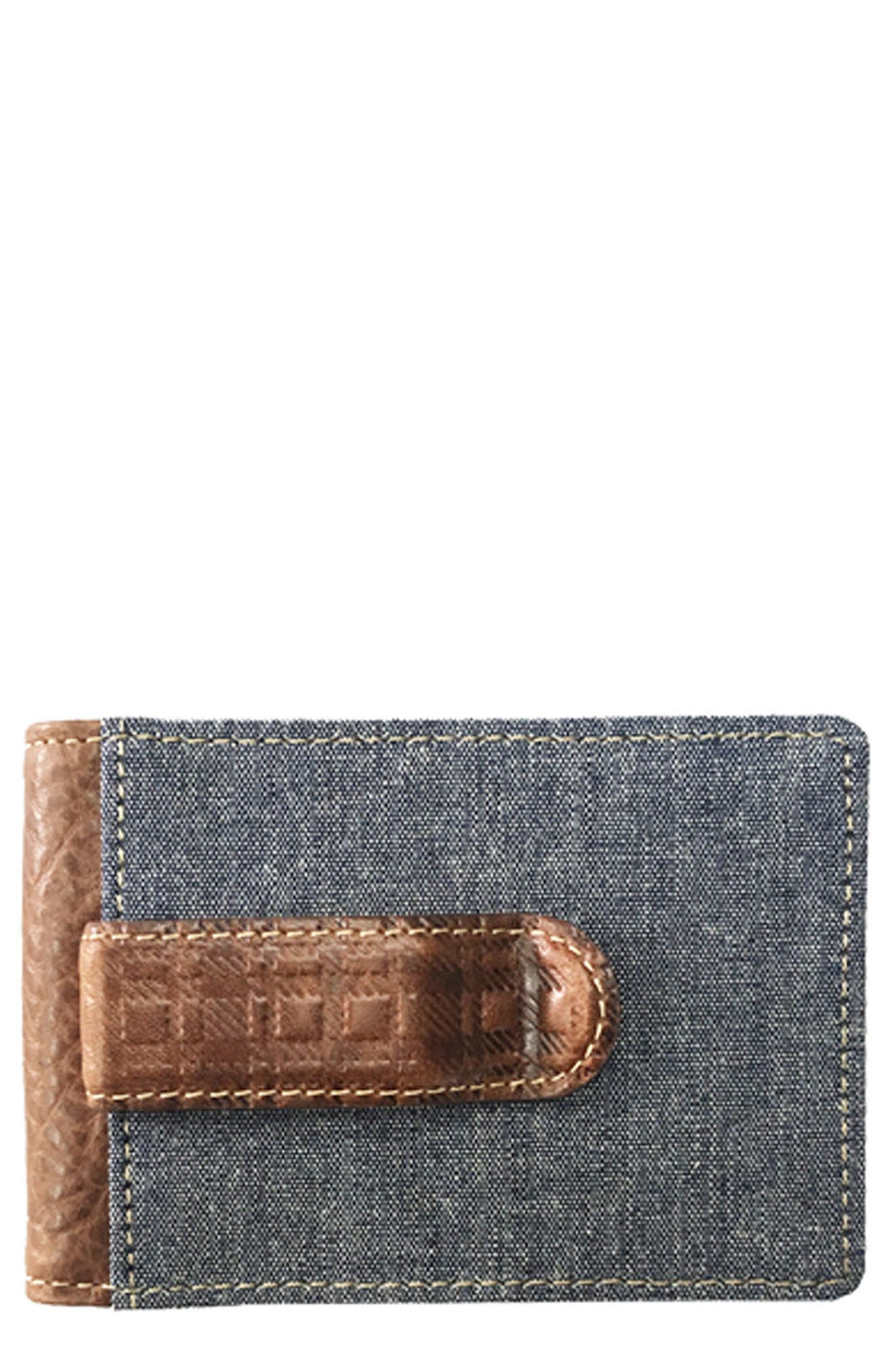 Caleb Bifold Wallet with Money Clip,                             Main thumbnail 1, color,                             Chestnut/ Chambray