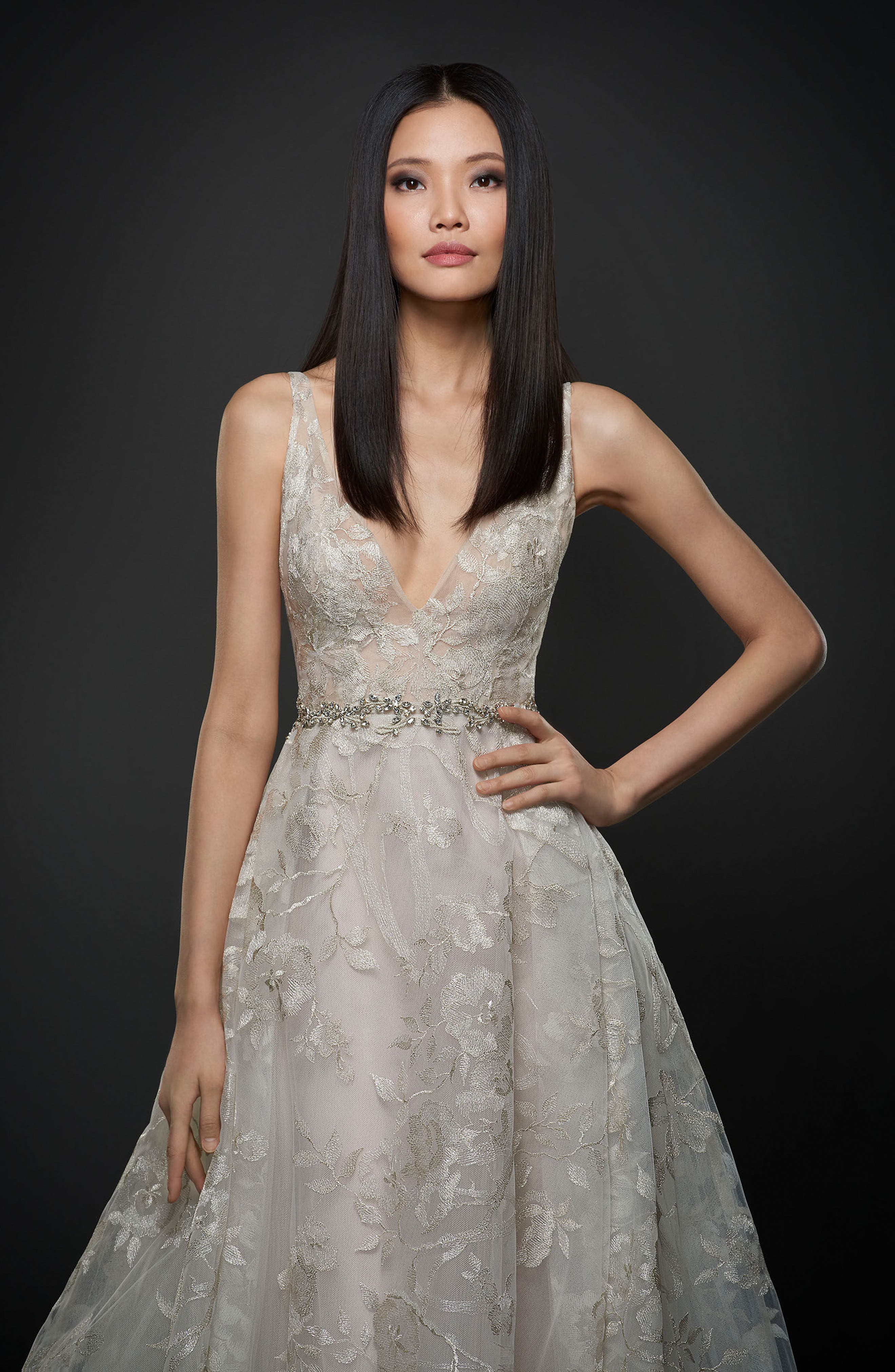 Floral Embroidered Tulle & Chiffon Gown,                             Alternate thumbnail 3, color,                             Platinum