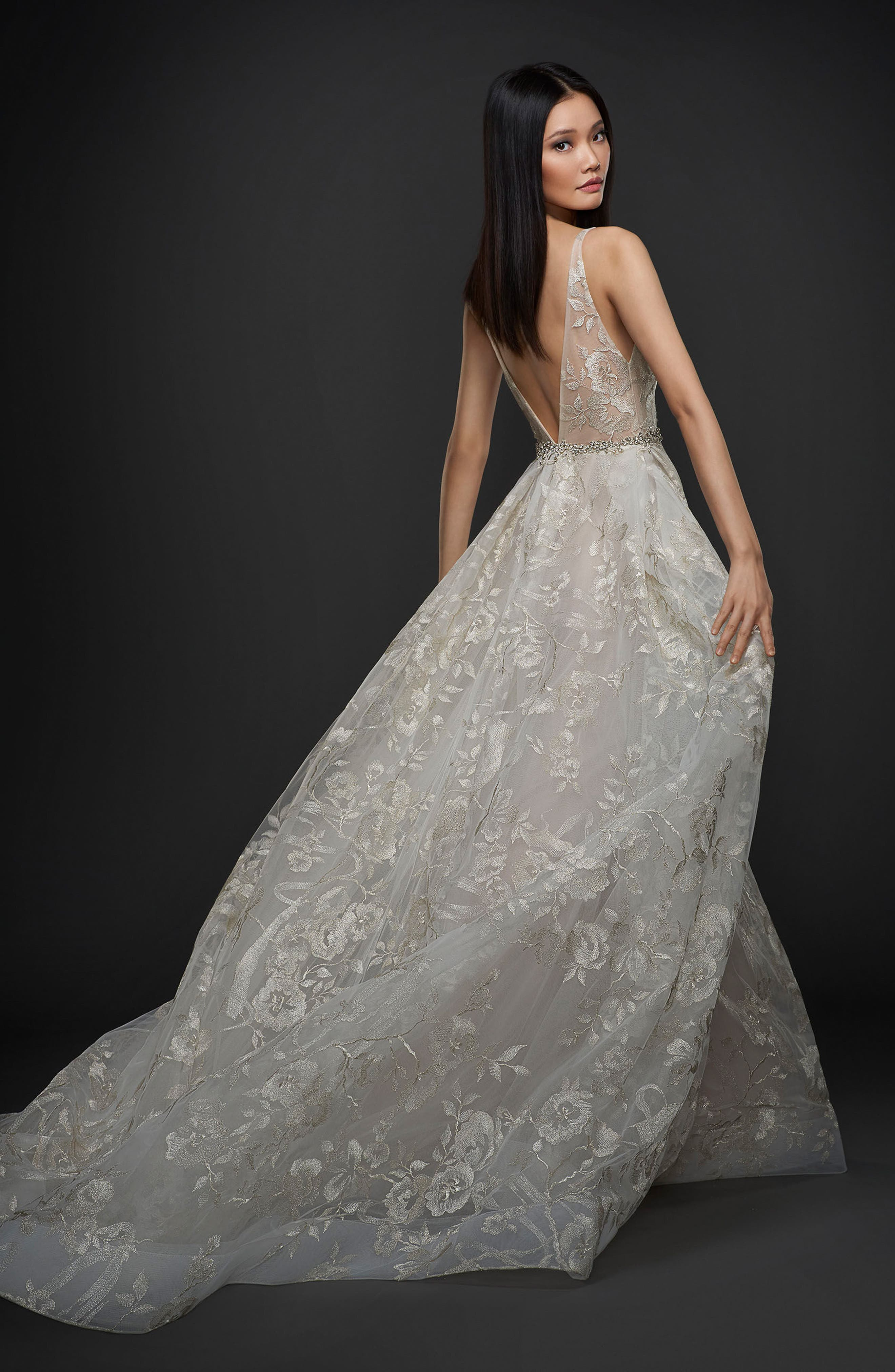 Floral Embroidered Tulle & Chiffon Gown,                             Alternate thumbnail 2, color,                             Platinum