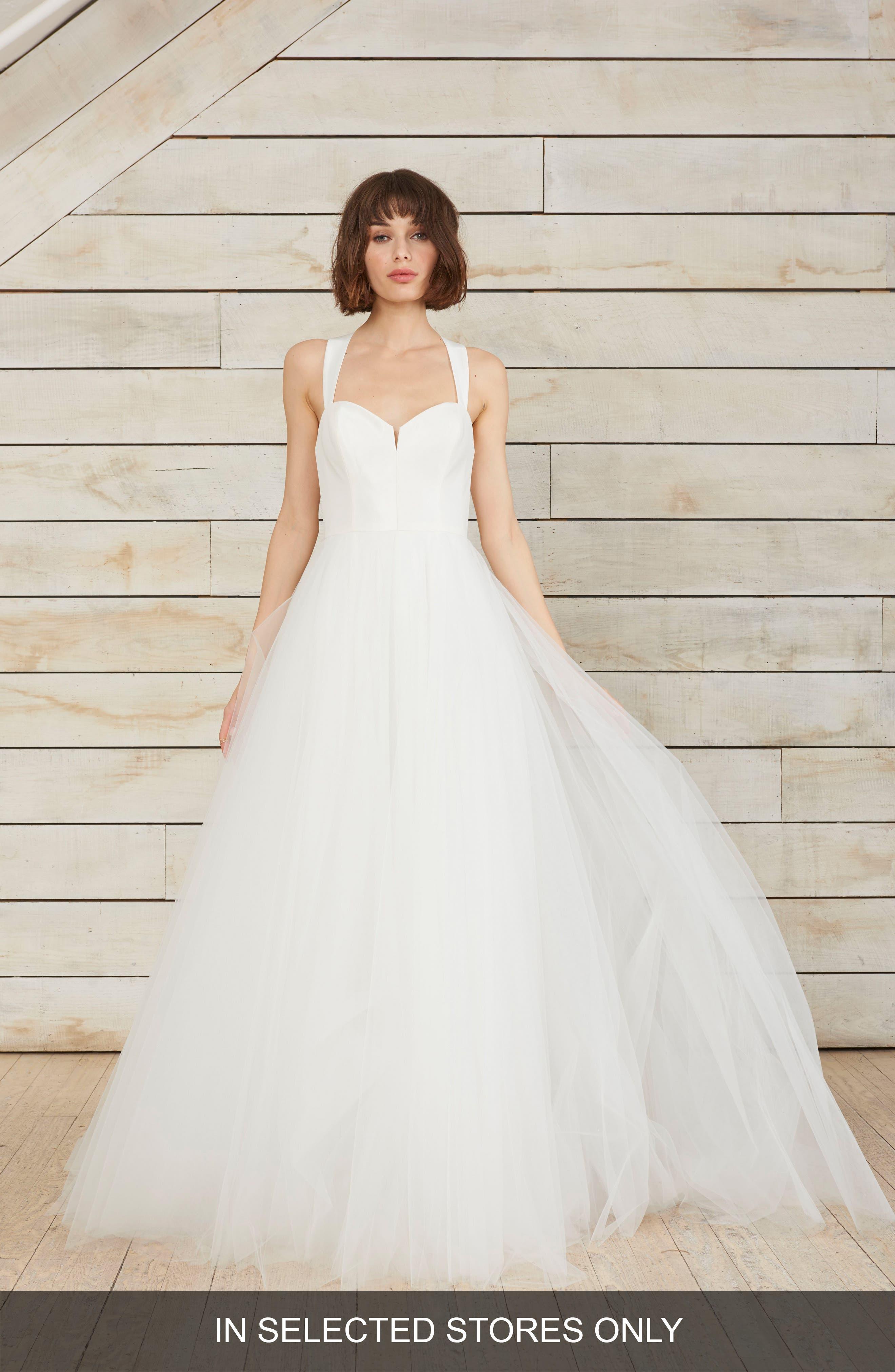 Gayle Taffeta & Tulle Ballgown,                         Main,                         color, Silk White