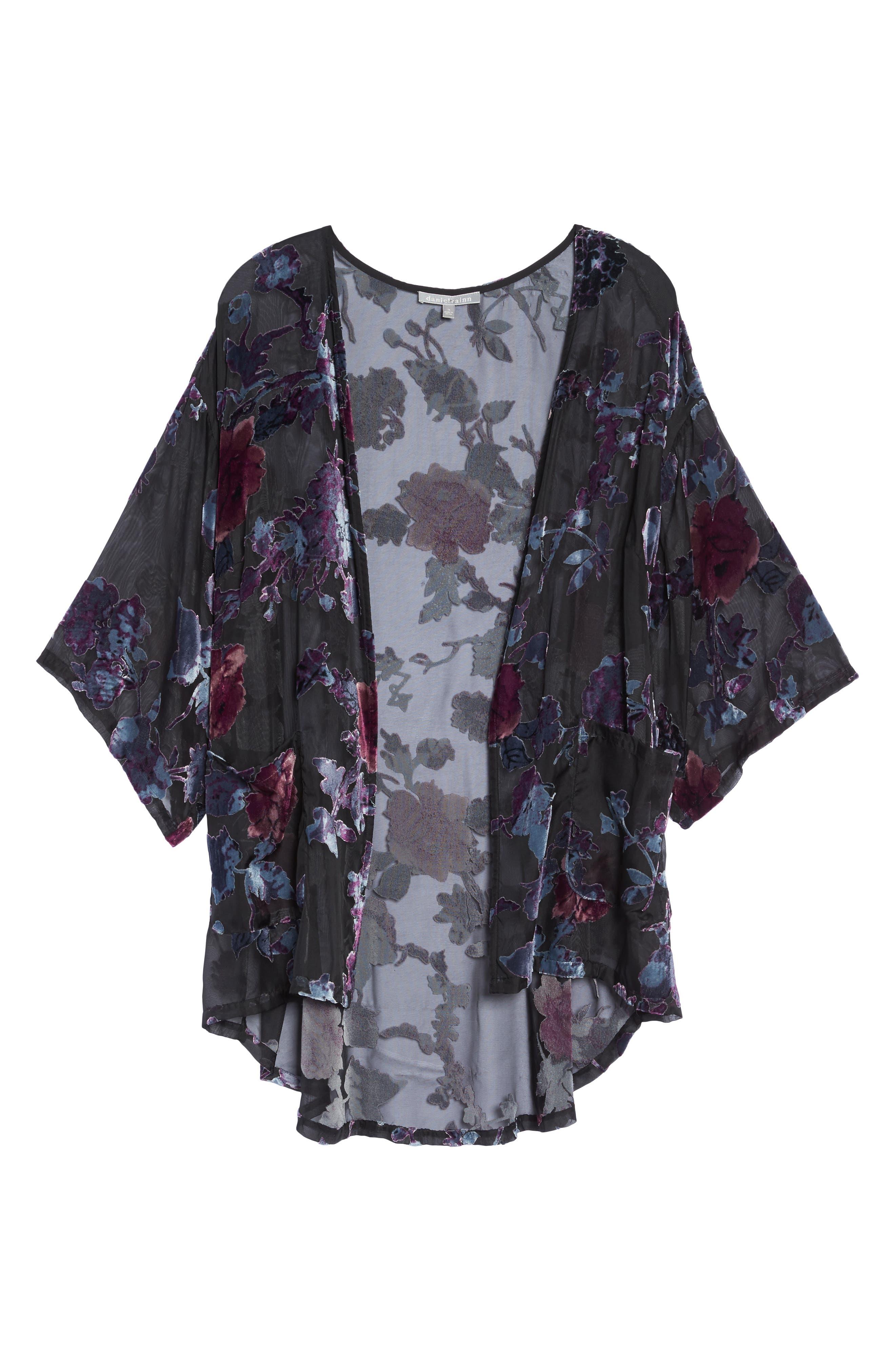 Burnout Velvet Kimono Jacket,                             Alternate thumbnail 6, color,                             Black