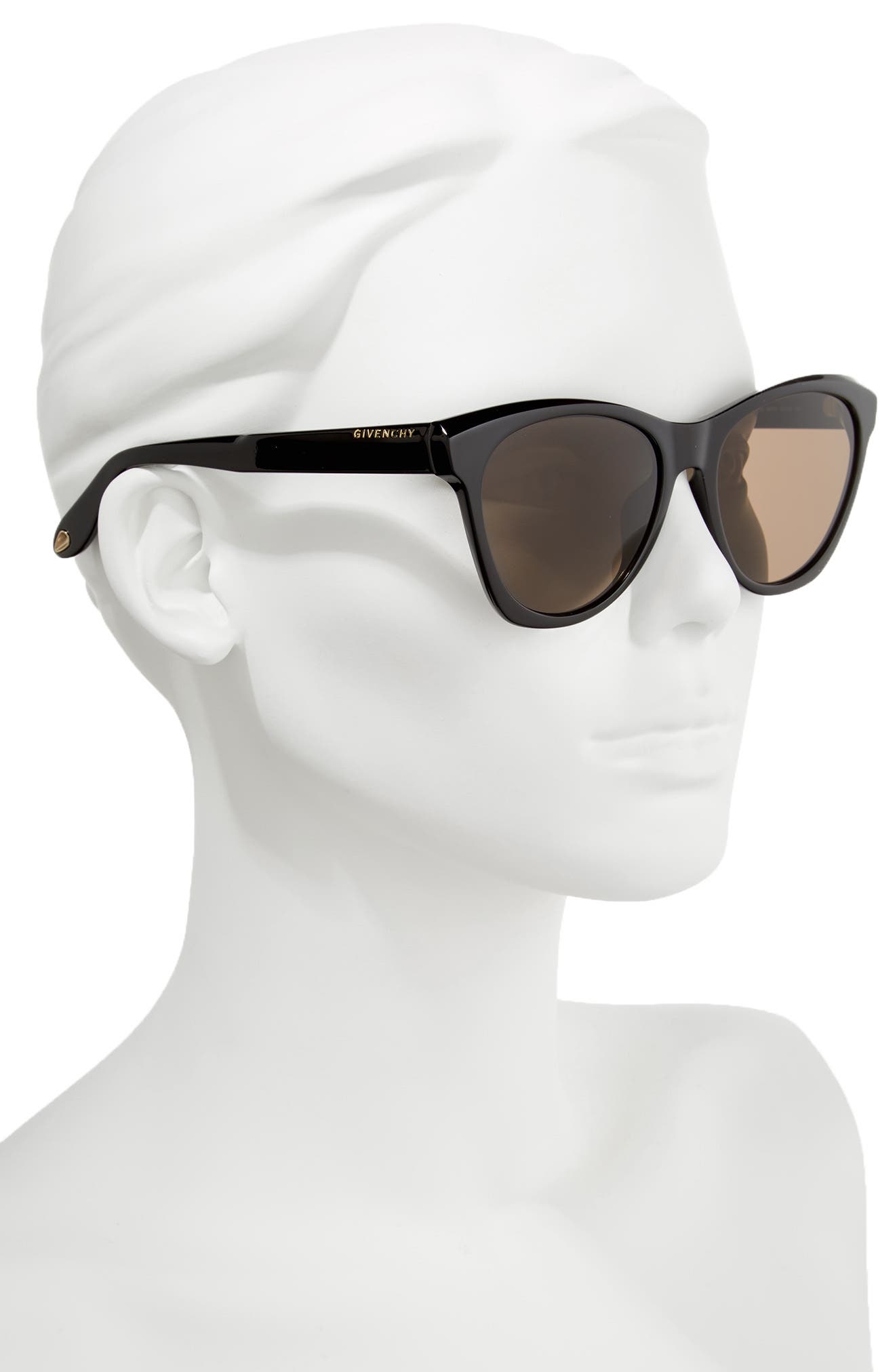 55mm Cat Eye Sunglasses,                             Alternate thumbnail 2, color,                             Black
